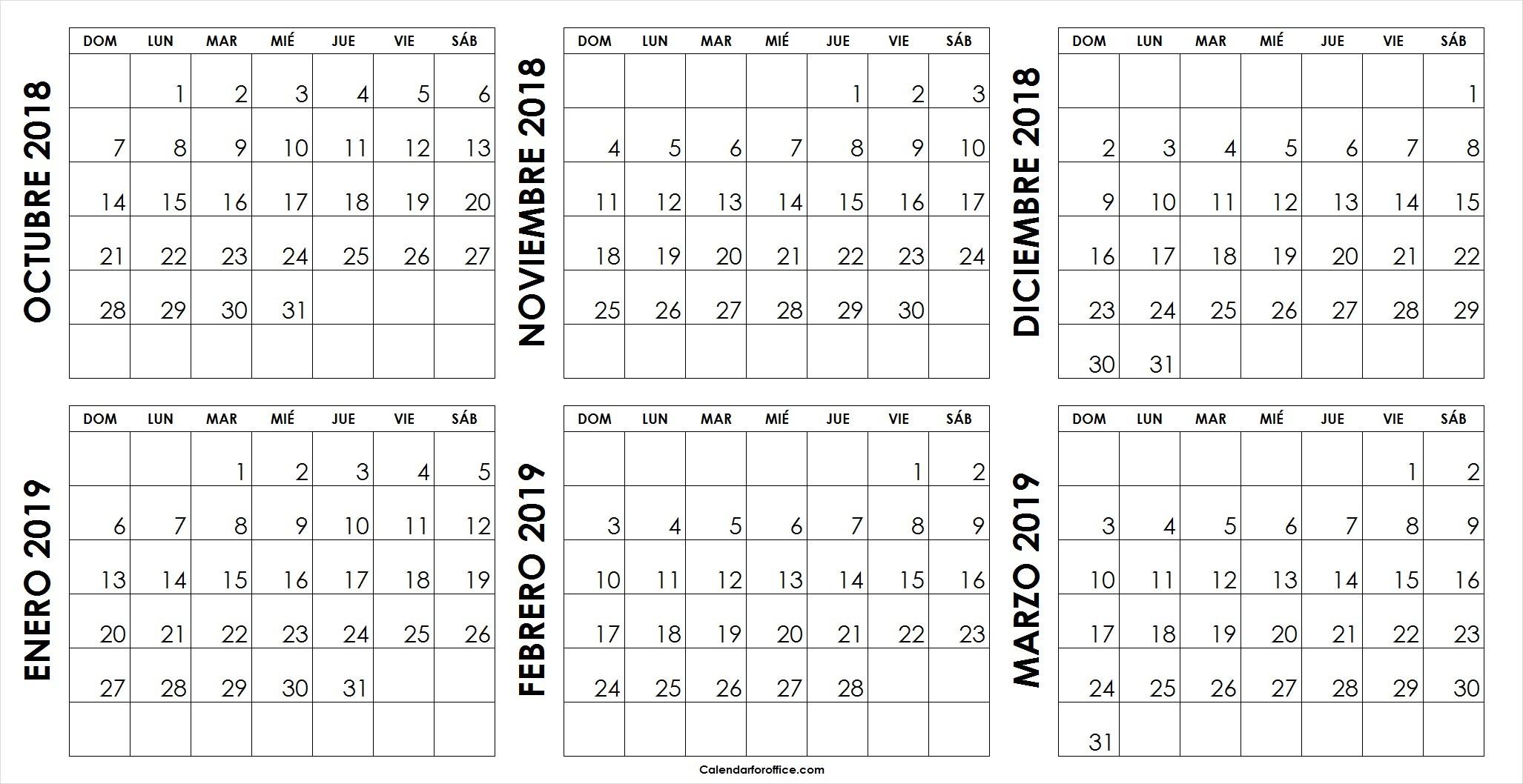 Calendario Mensual Octubre 2018 Marzo 2019 Para Imprimir