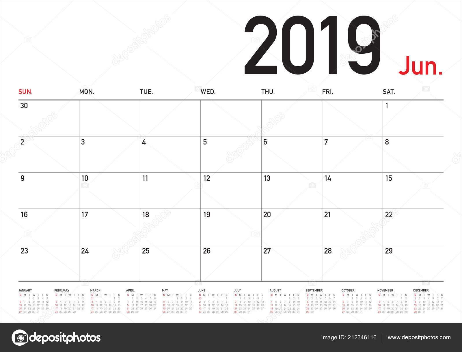 depositphotos stock illustration june 2019 desk calendar vector