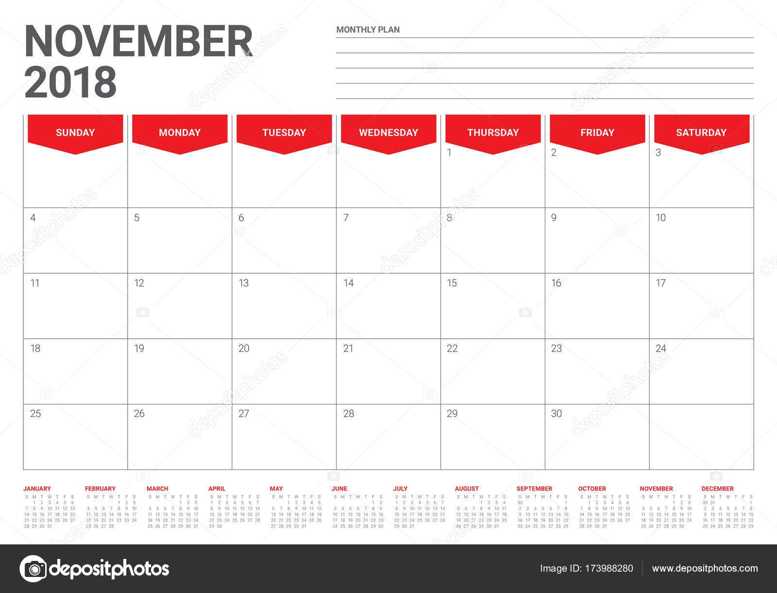 depositphotos stock illustration november 2018 planner calendar vector