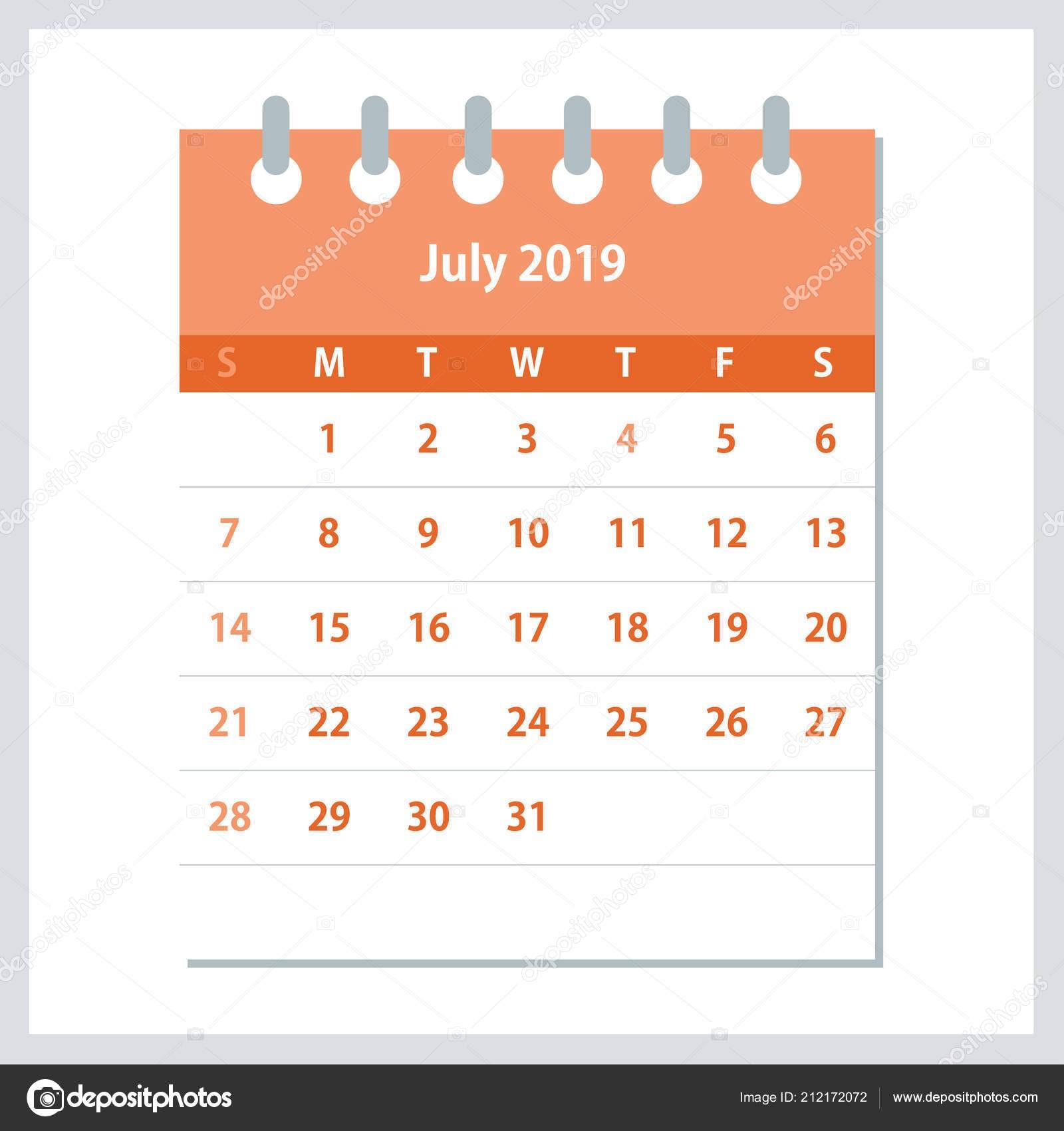 depositphotos stock illustration july 2019 calendar leaf monthly