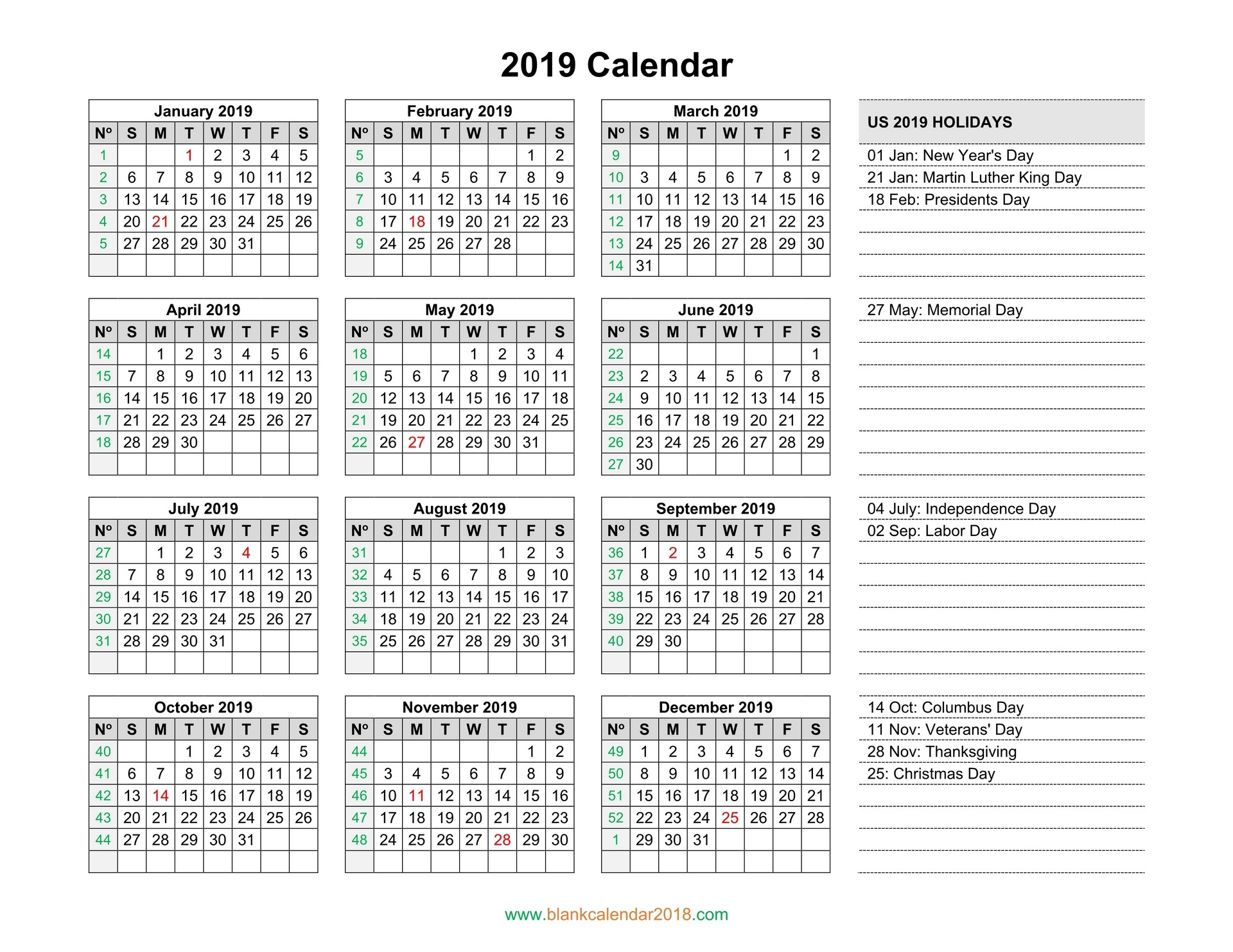yearly 2019 calendar holidays blank landscape