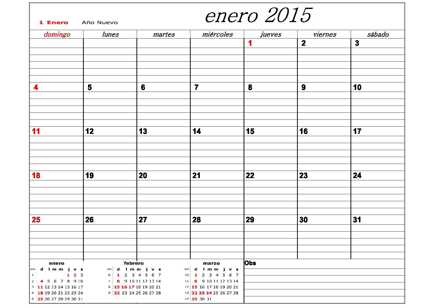 calendario septiembre 2015 para imprimir Corto