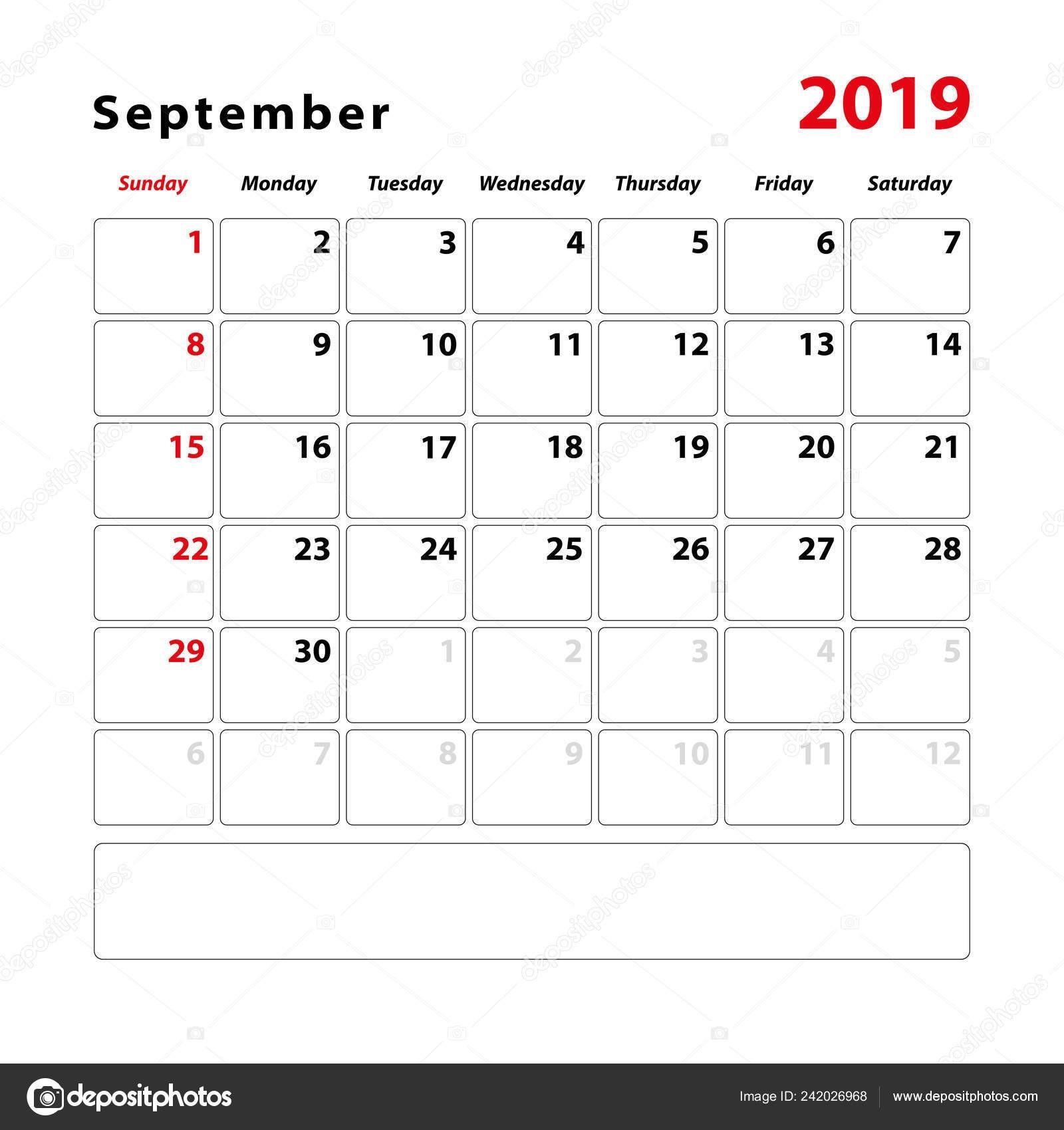 depositphotos stock illustration calendar sheet month september 2019