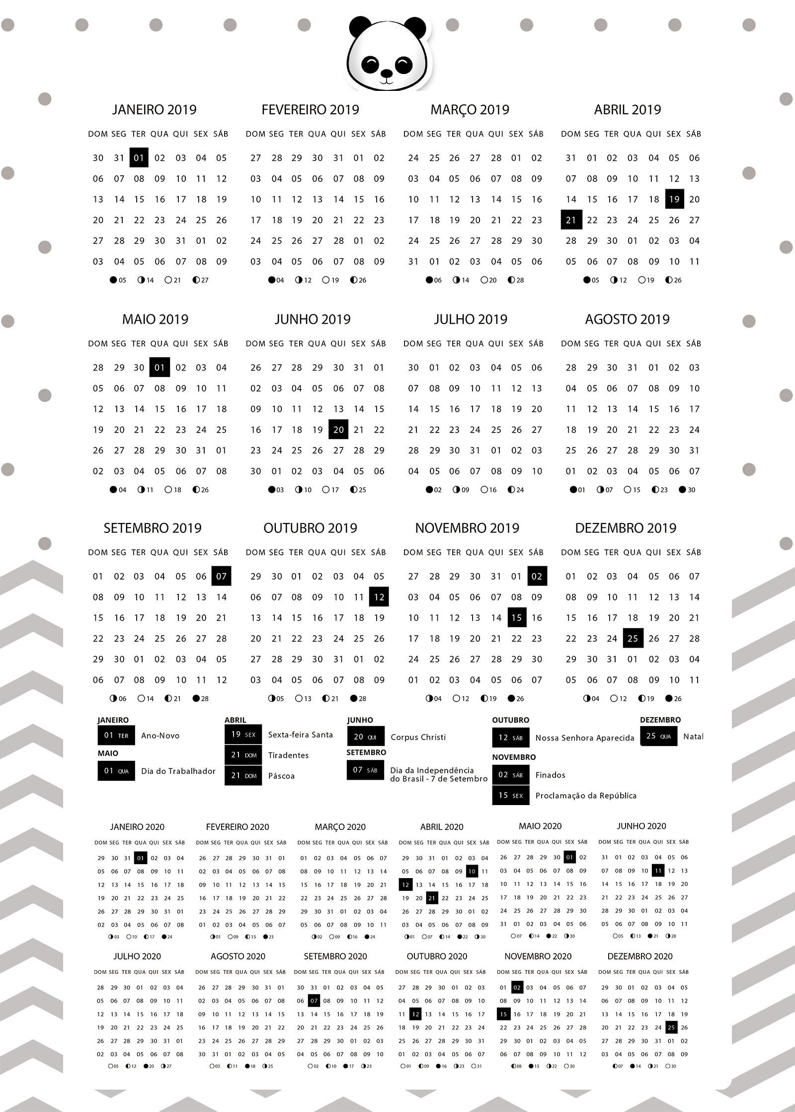 Planners 2019 Panda Menino calendario 2019 e 2020