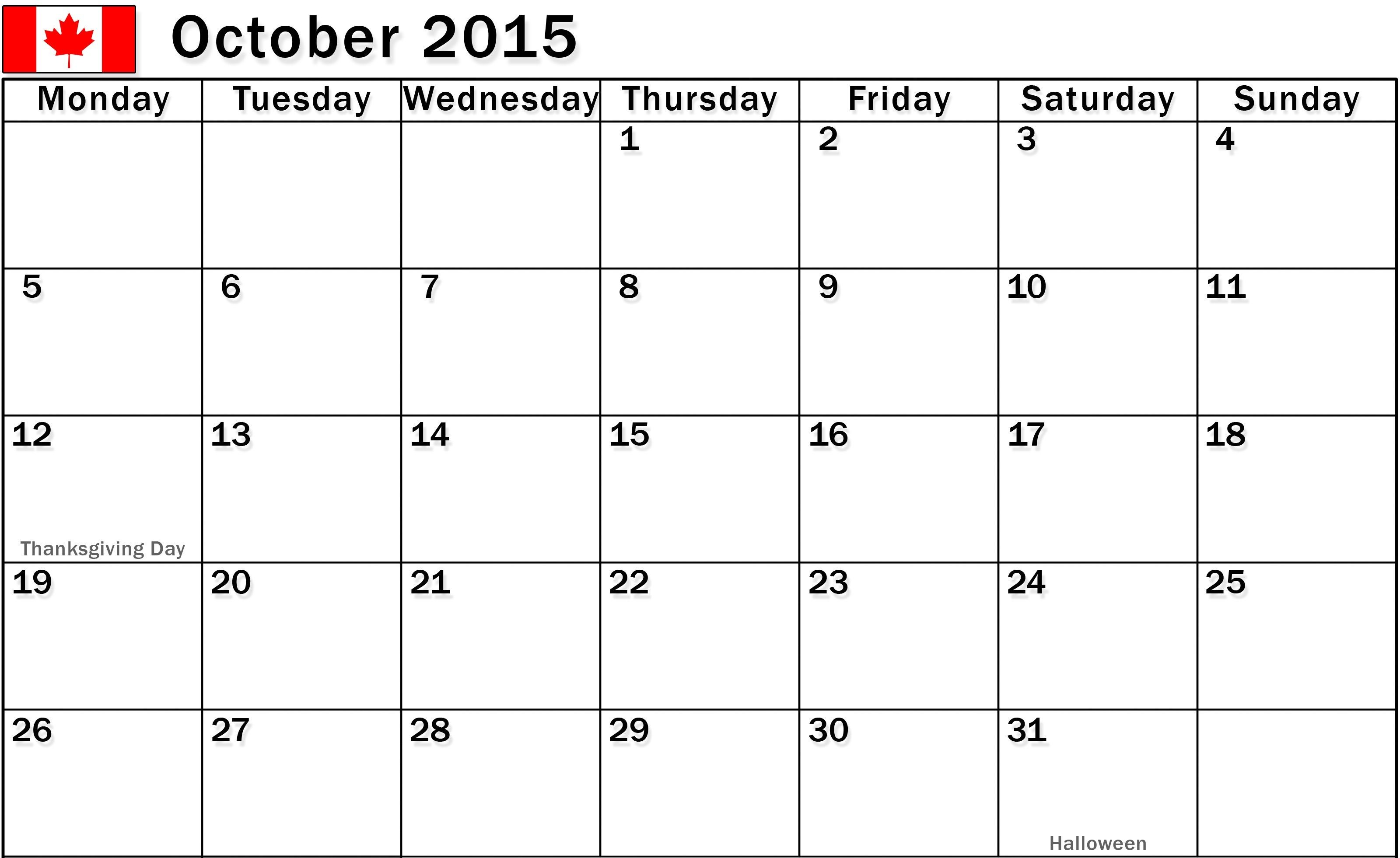 October 2015 Calendar Fillable Printable Pdf