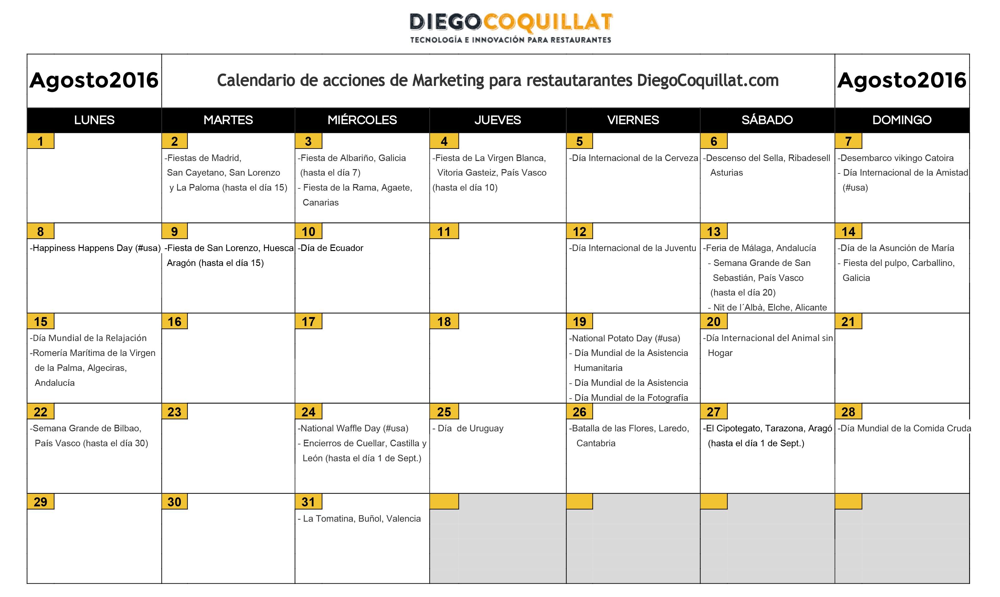 Agosto2016 Calendario