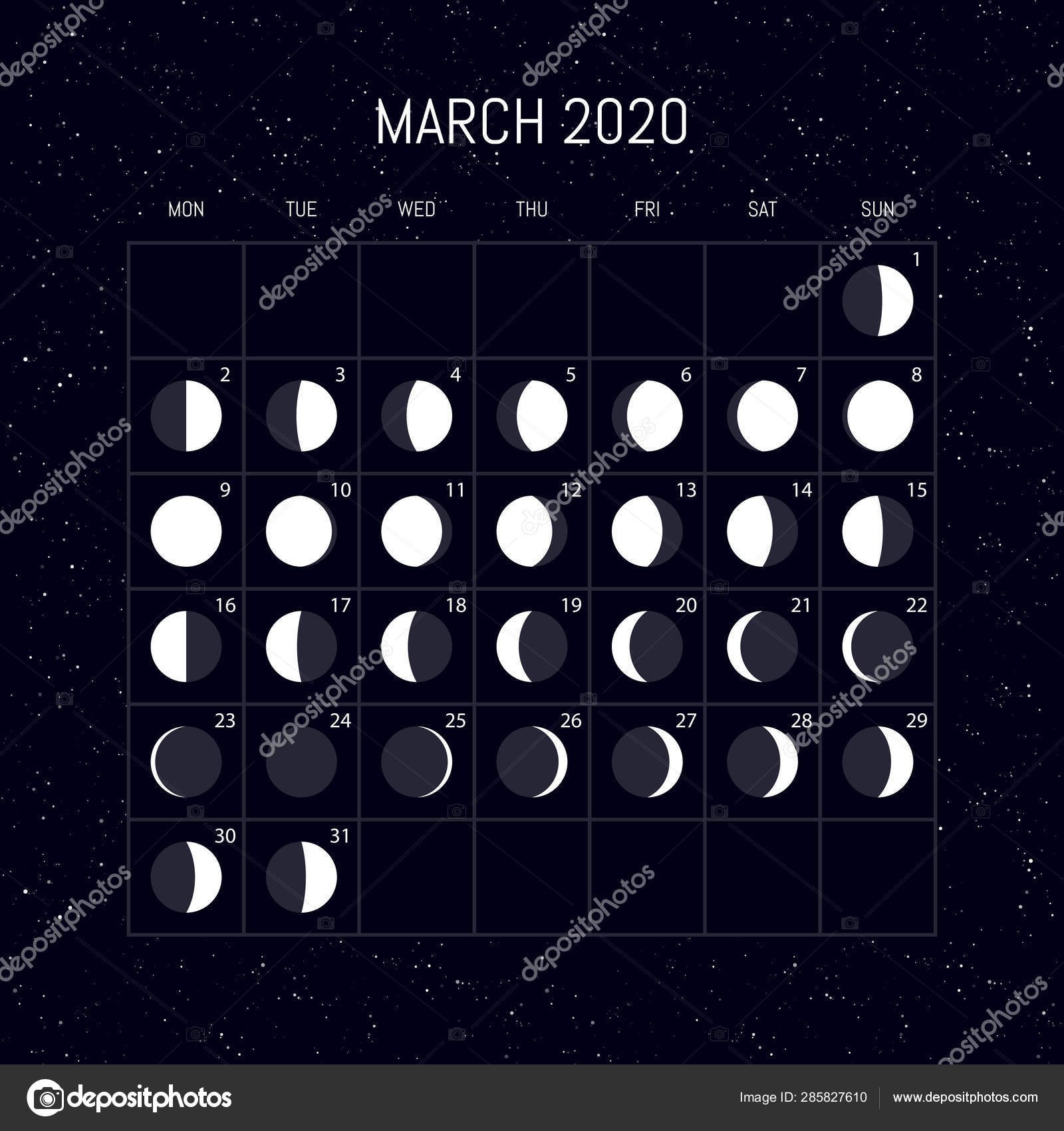 depositphotos stock illustration moon phases calendar for 2020