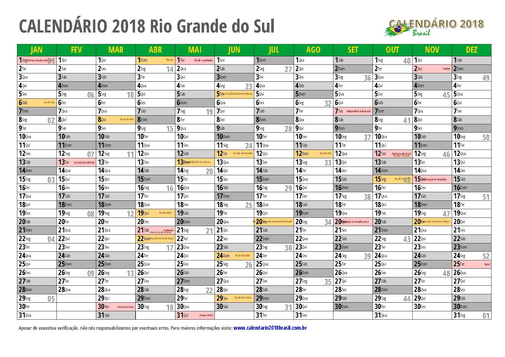 calendario 2018 Rio Grande do Sul
