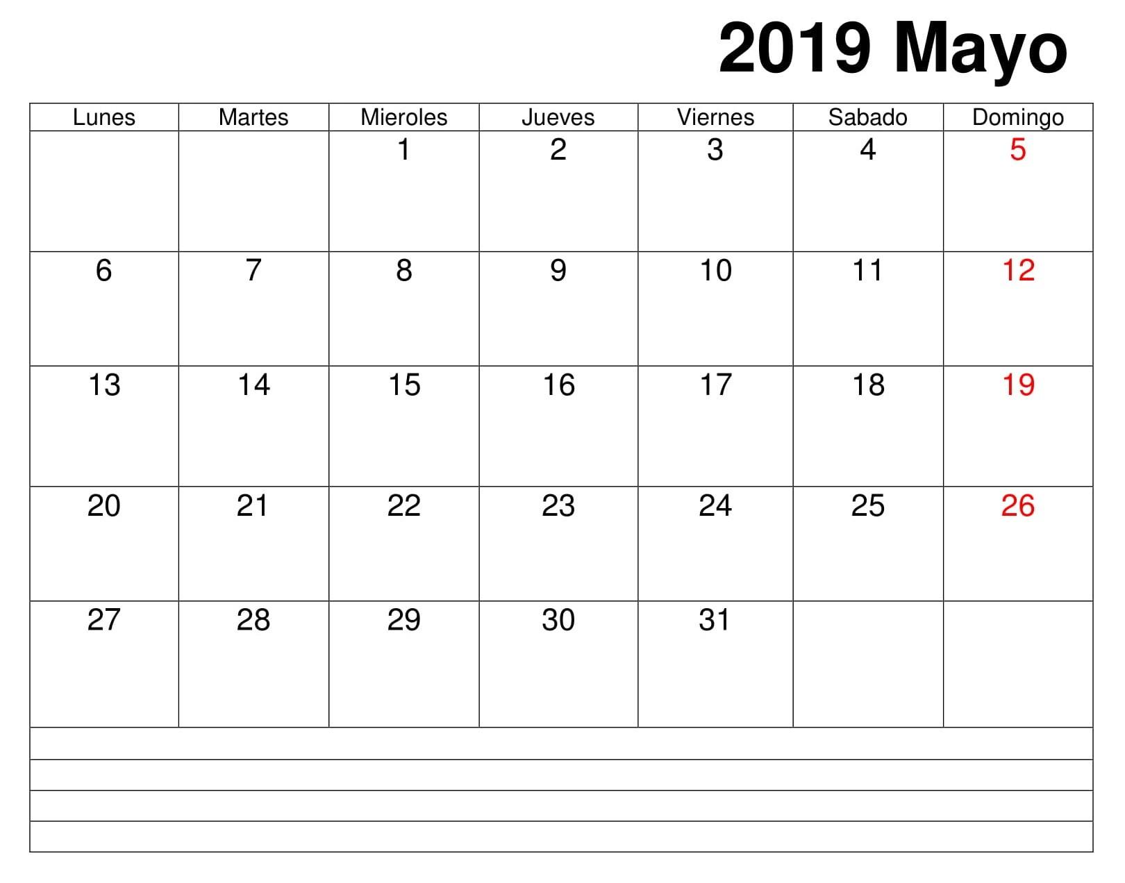 Calendario Grande Mayo 2019