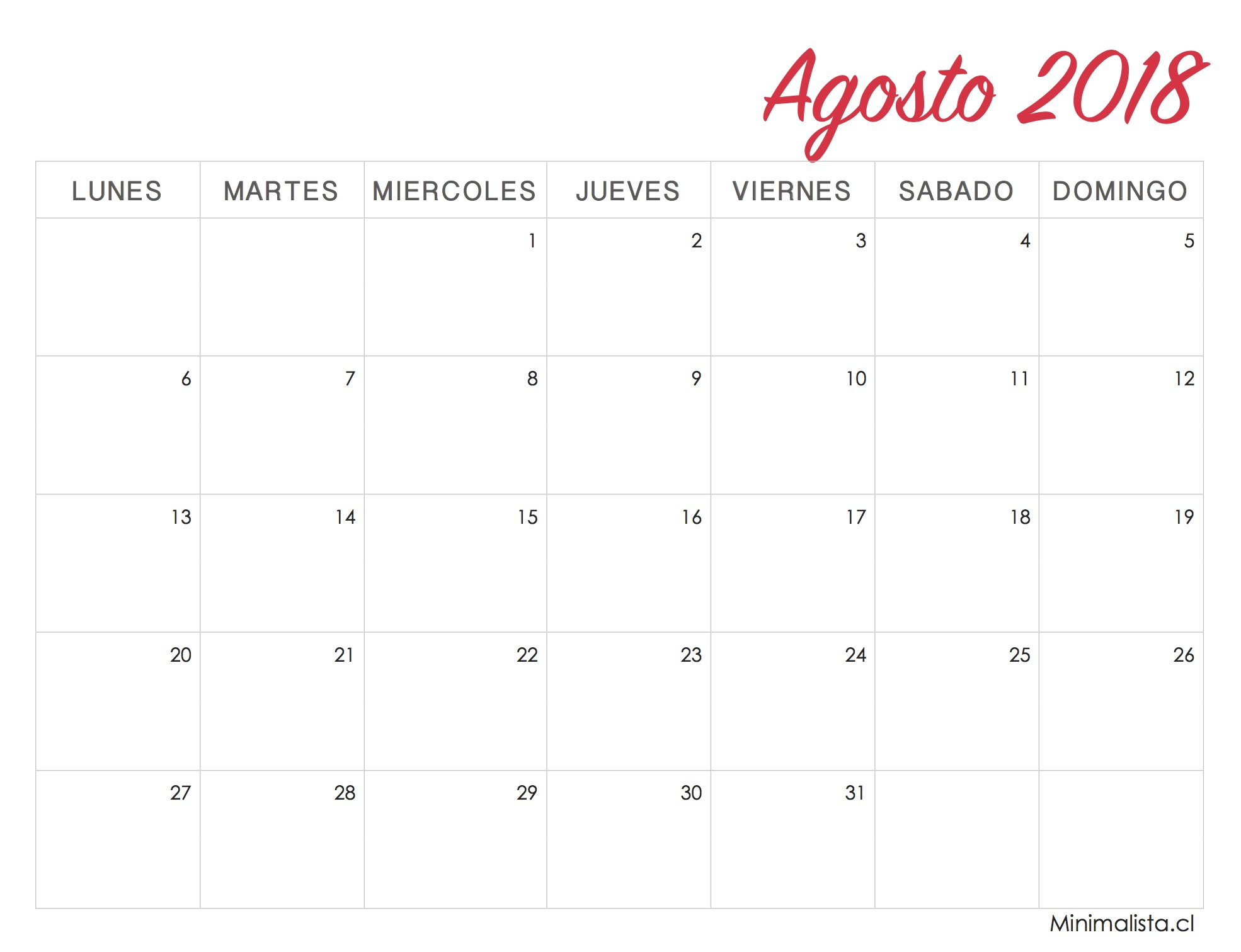 Calendario Agosto 2018 Imprimir Femenino