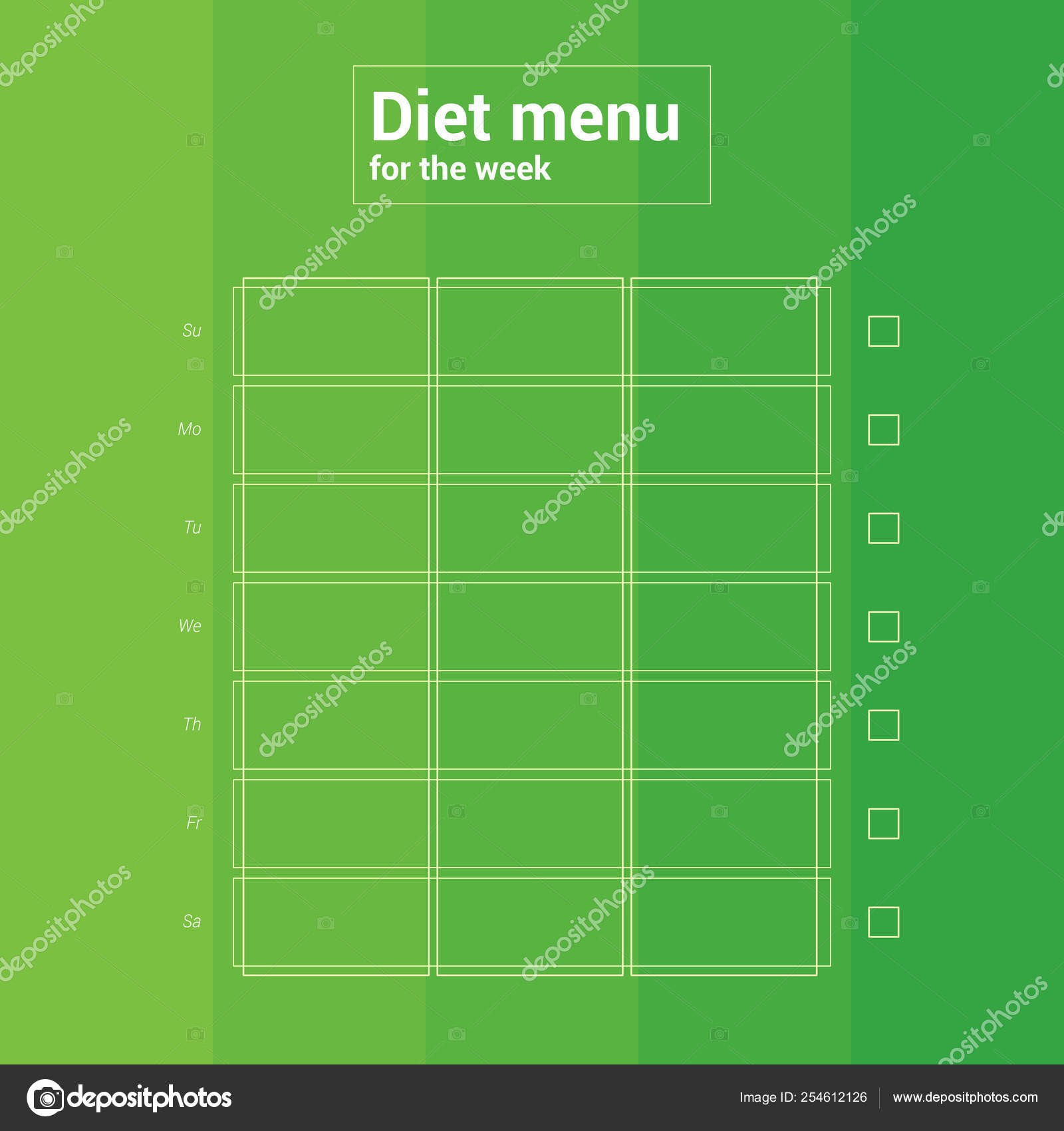 depositphotos stock illustration colorful weekly calendar meal planning