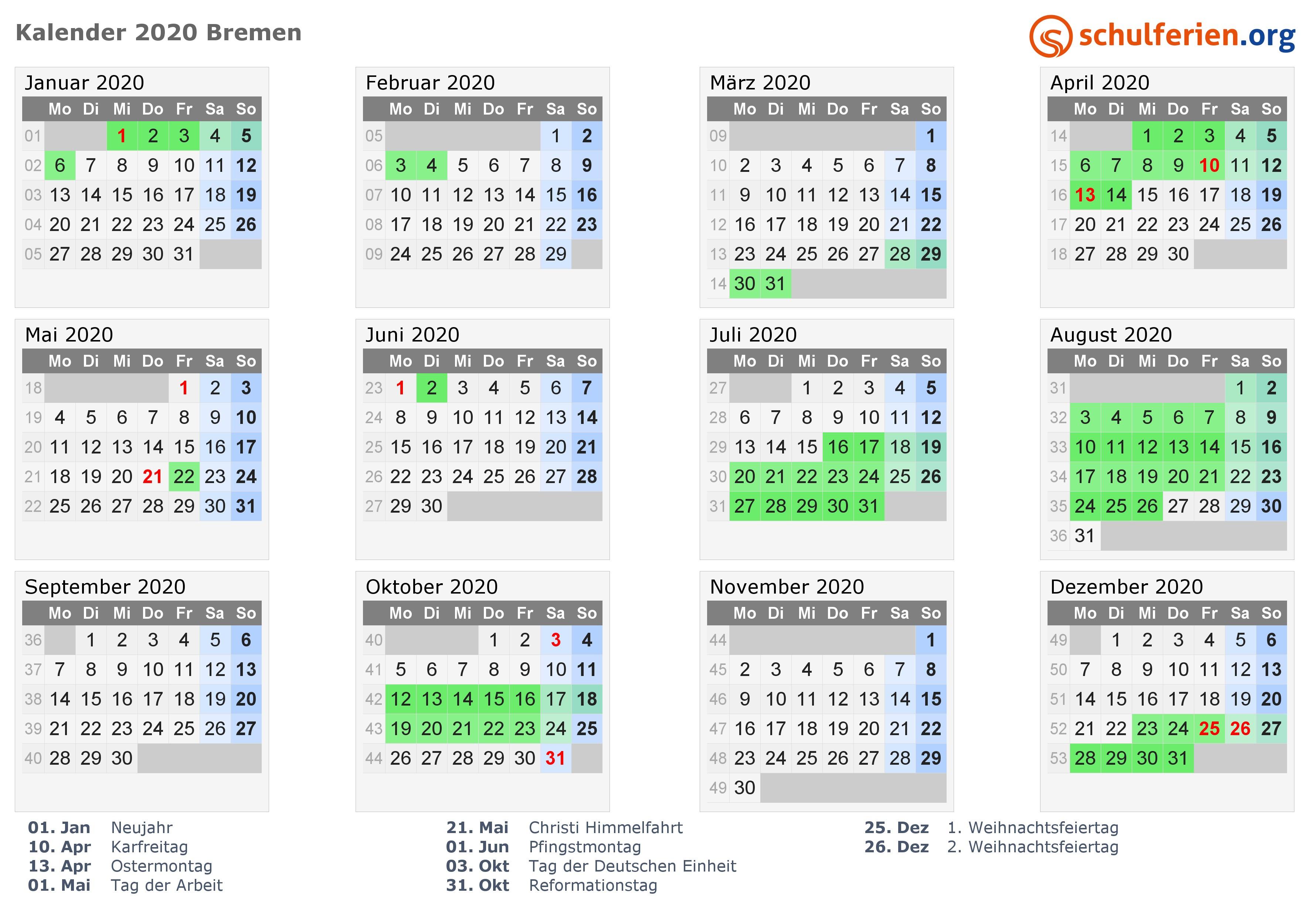 kalender 2020 bremen quer