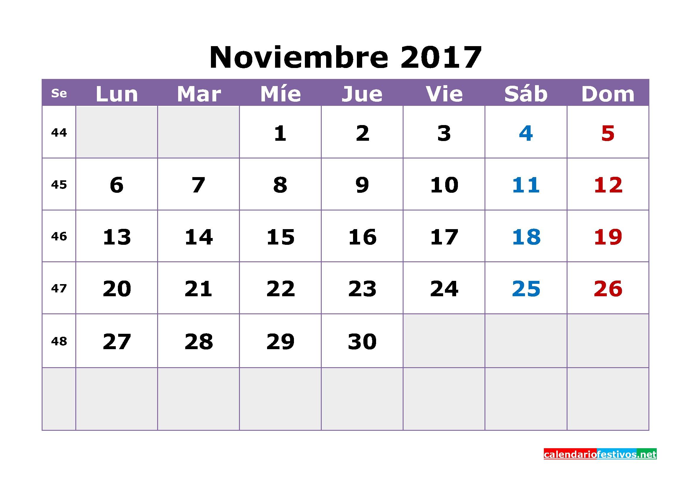 Calendario de noviembre de 2017 4