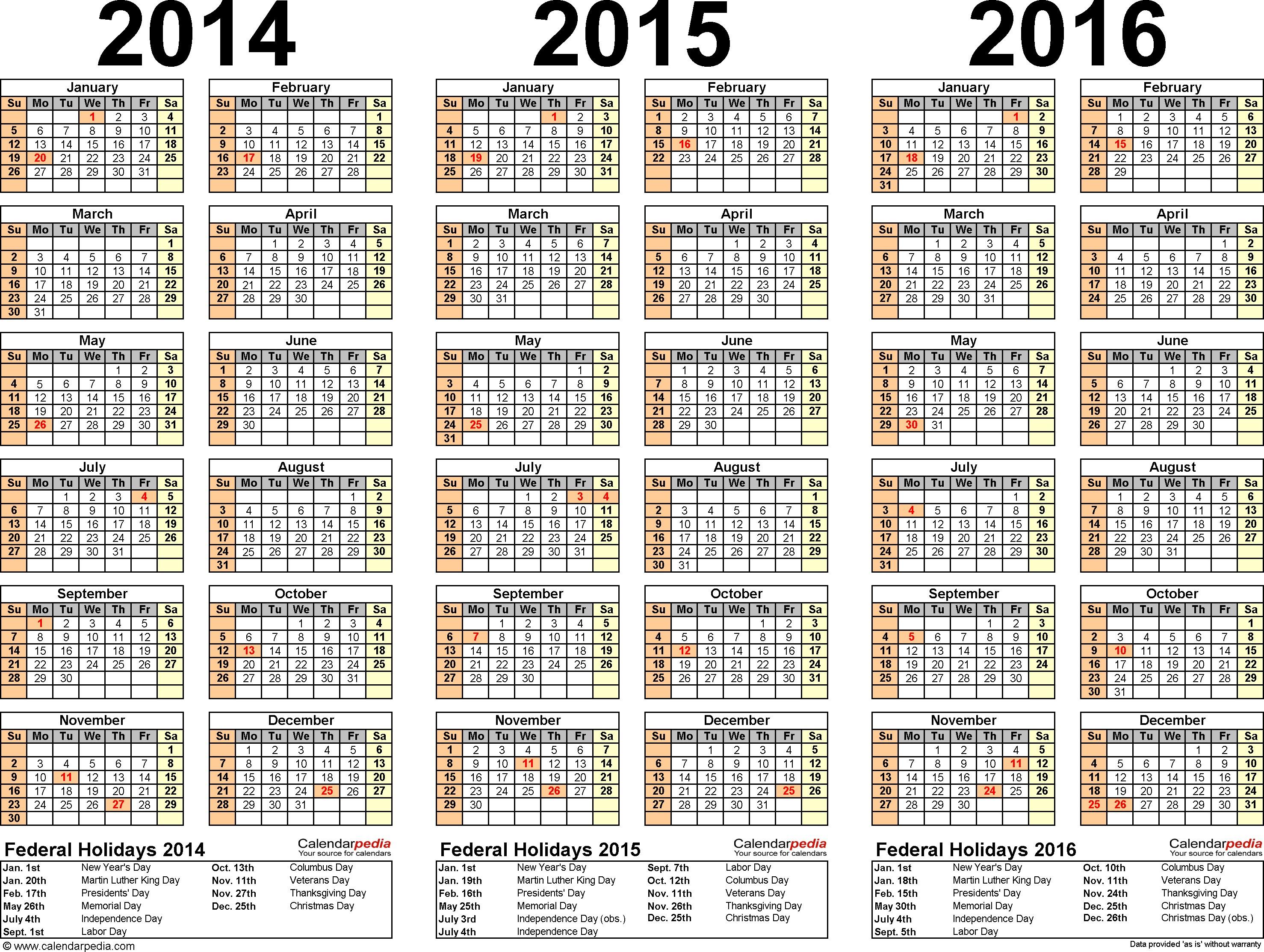 2014 2015 2016 calendar