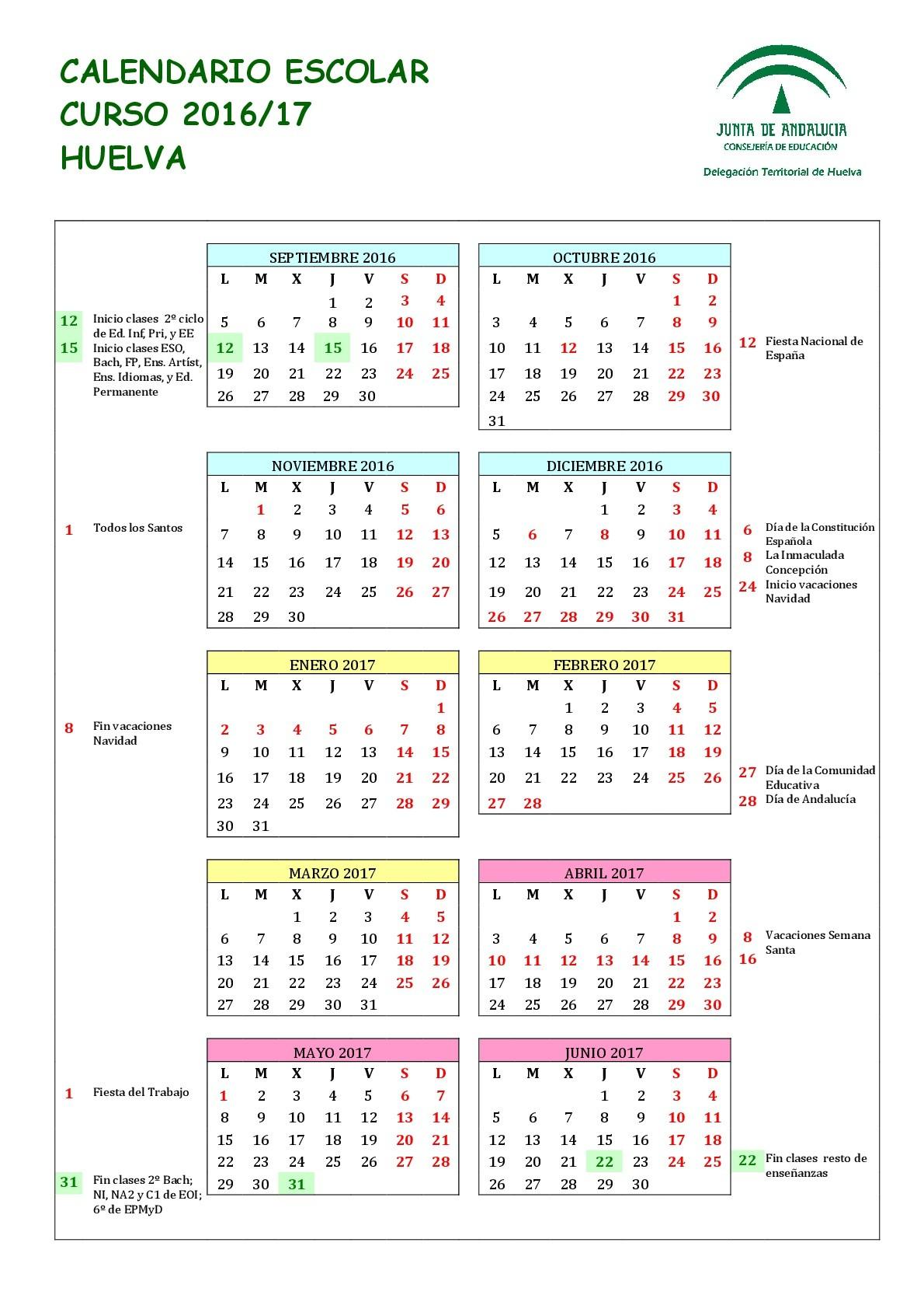 Calendario escolares 2016 2017 Huelva