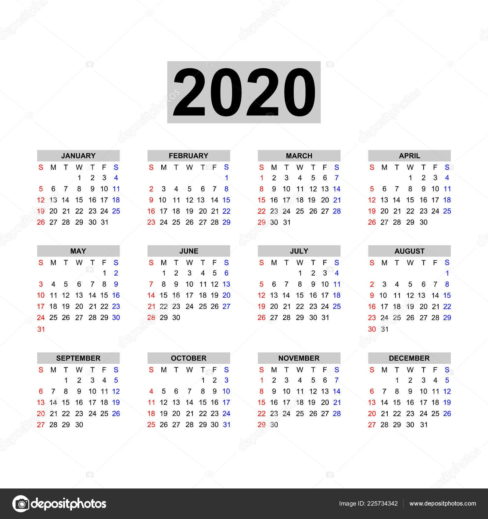 depositphotos stock illustration calendar 2020 template calendar design