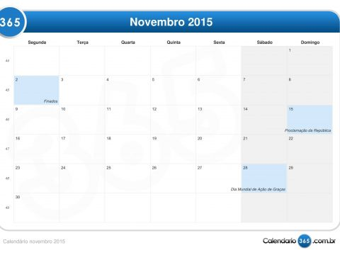 Calendário 2020 Feriados Sjc Más Reciente Calendário Novembro 2015