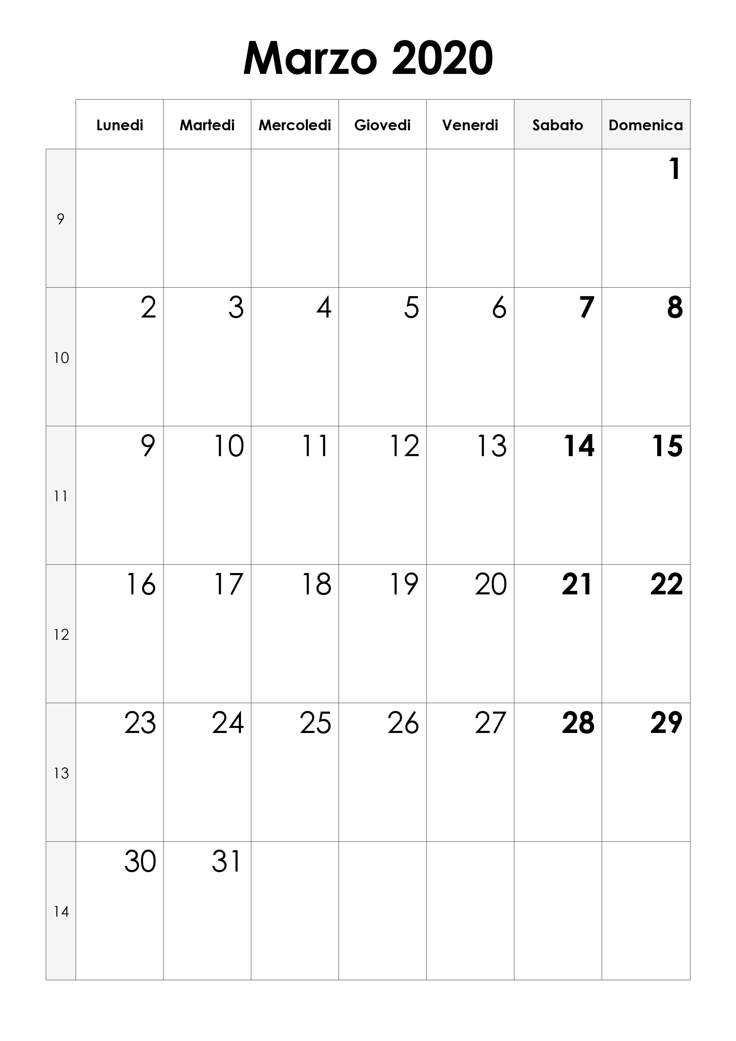 calendario marzo 2020 vuoto ver