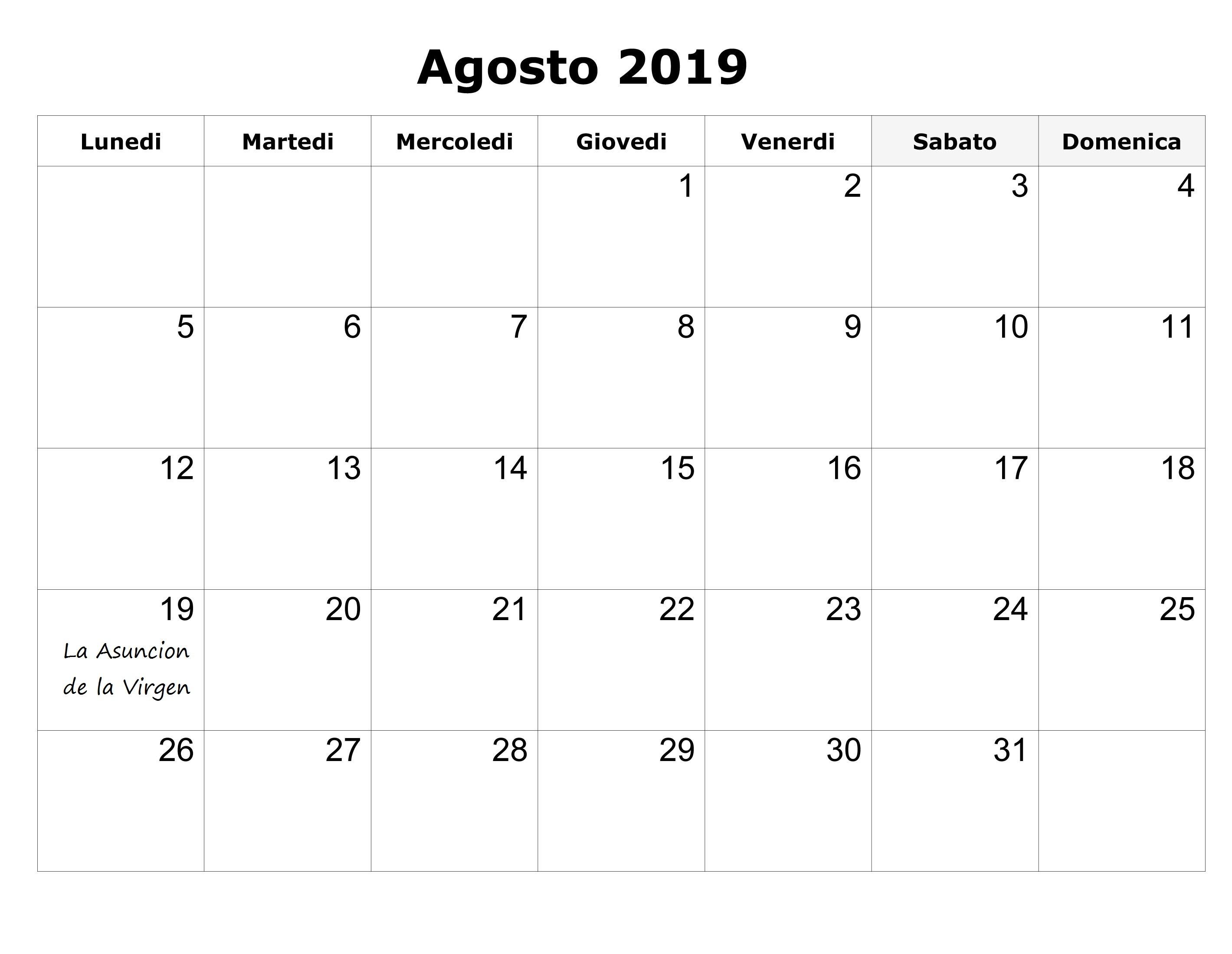 Calendario Agosto 2019 Con Festivos PDF