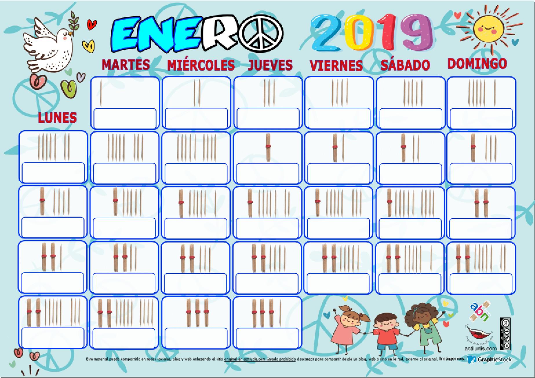 CALENDARIO PALILLOS ENERO 2019