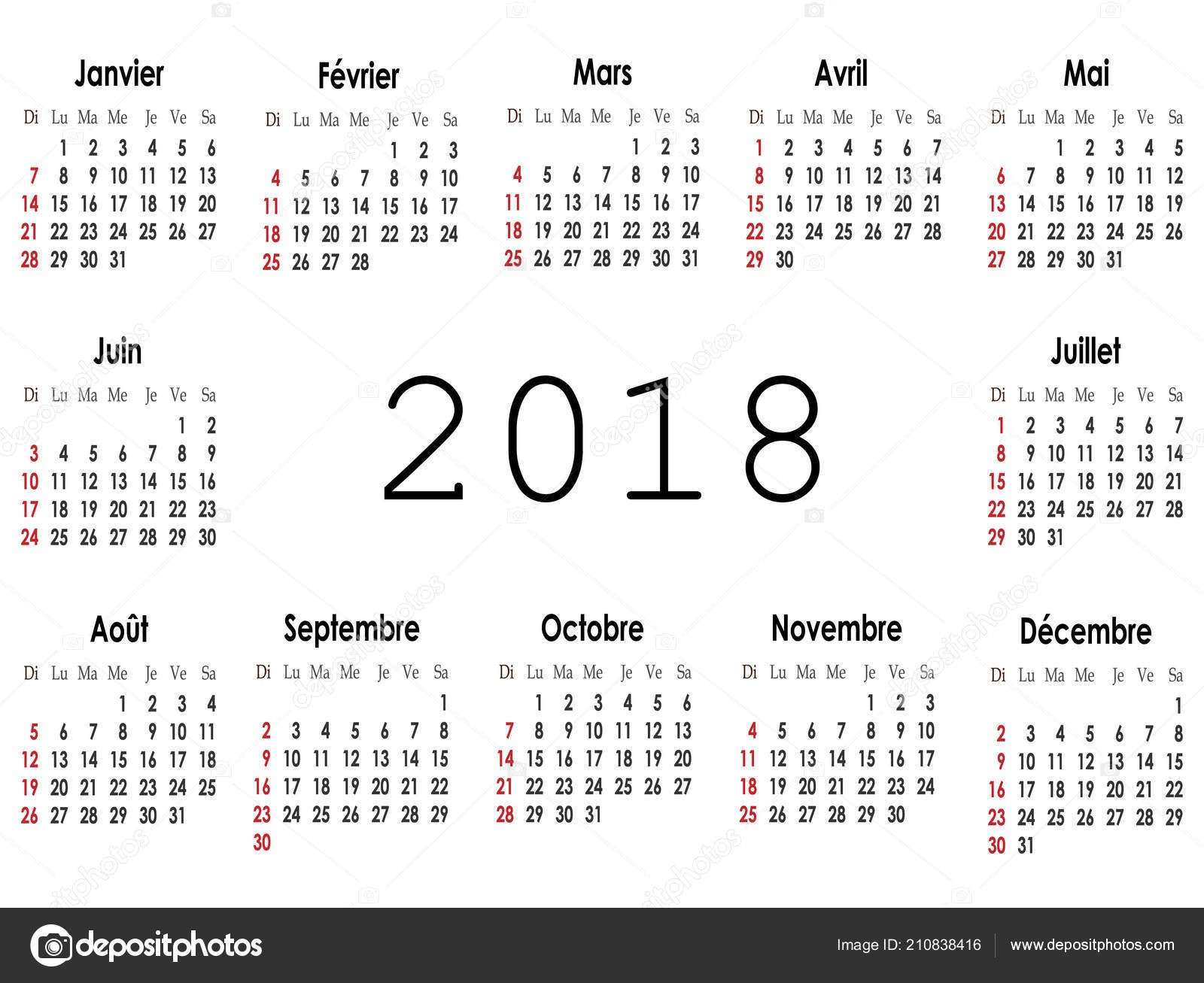depositphotos stock illustration simple calendar layout 2018 year