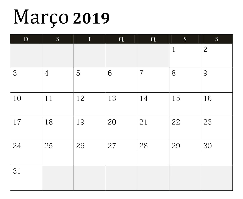 Calendário Março Imprimir PDF 2019