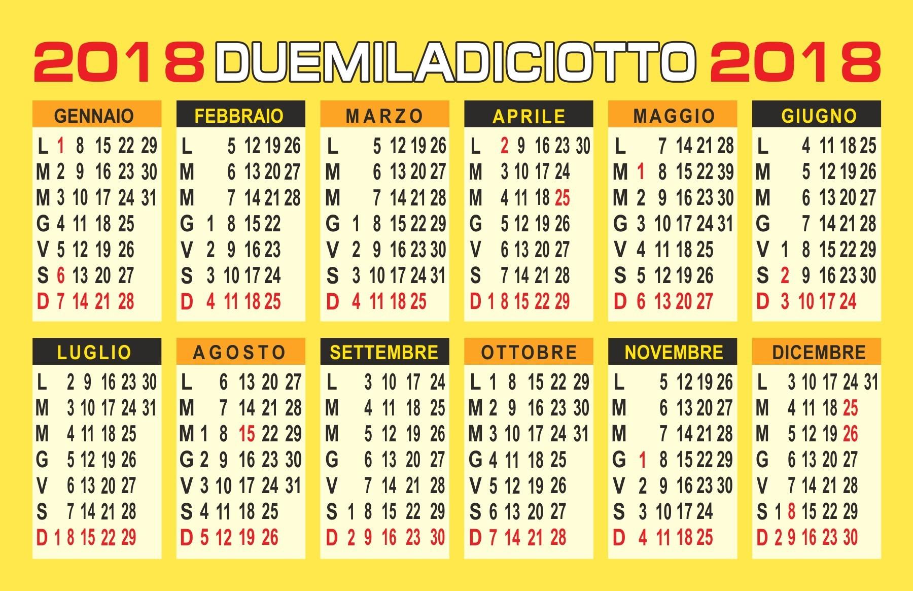 calendario 2018 annuale calendari gratis