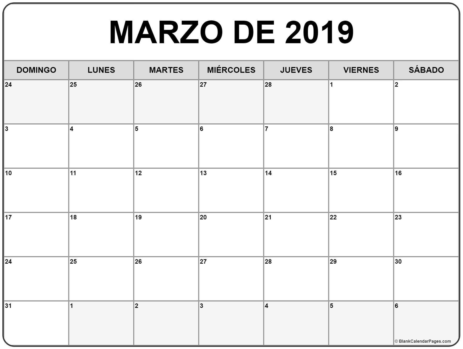 Calendario Mes Marzo 2019 Para Imprimir 2