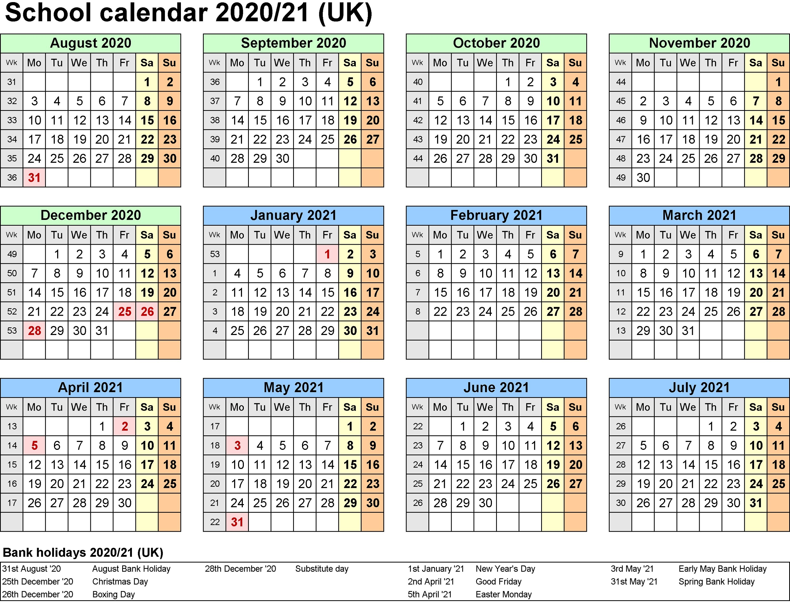 2021 And 2020 Calendar Printable School Calendar