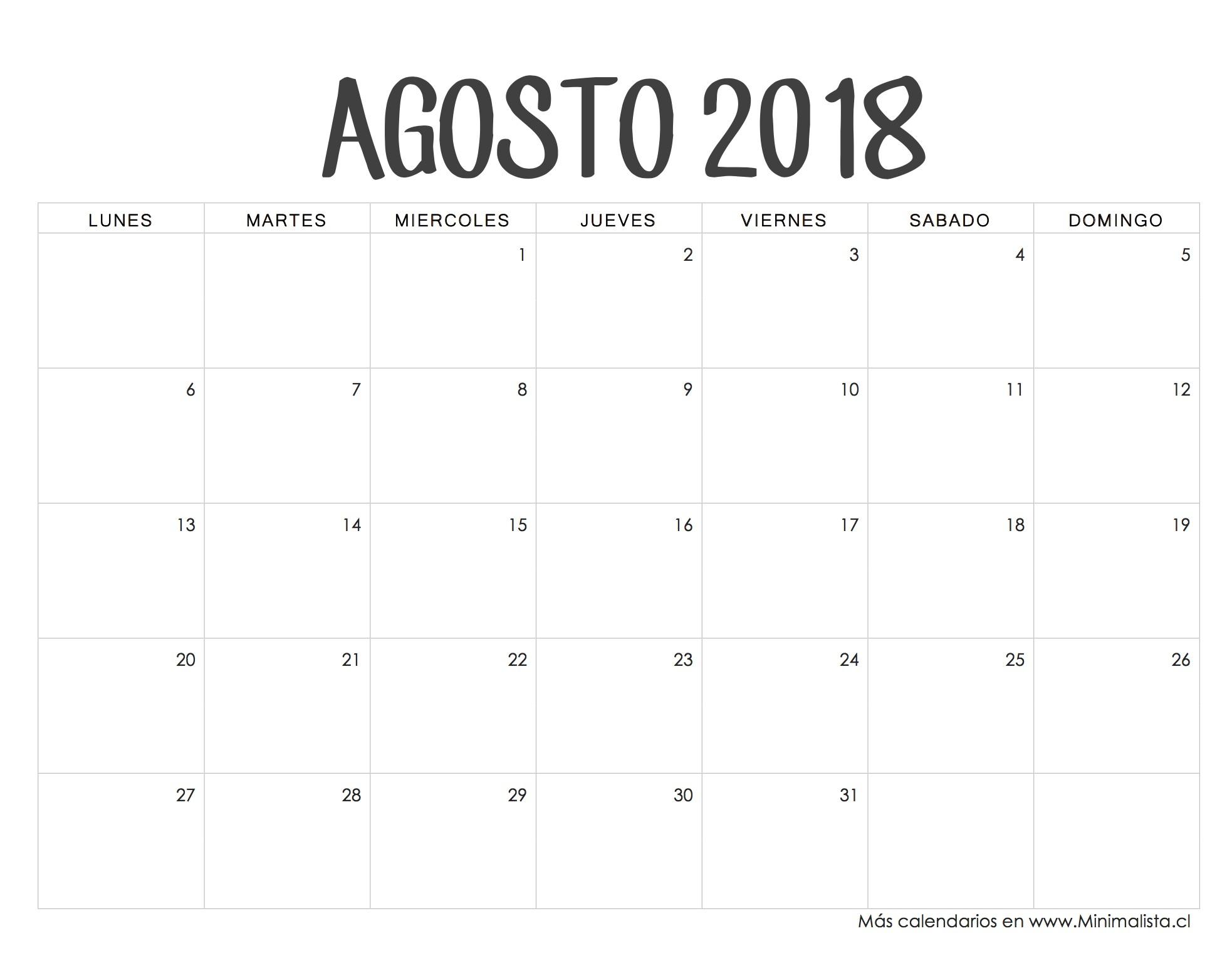 Calendario Imprimible Agosto 2018