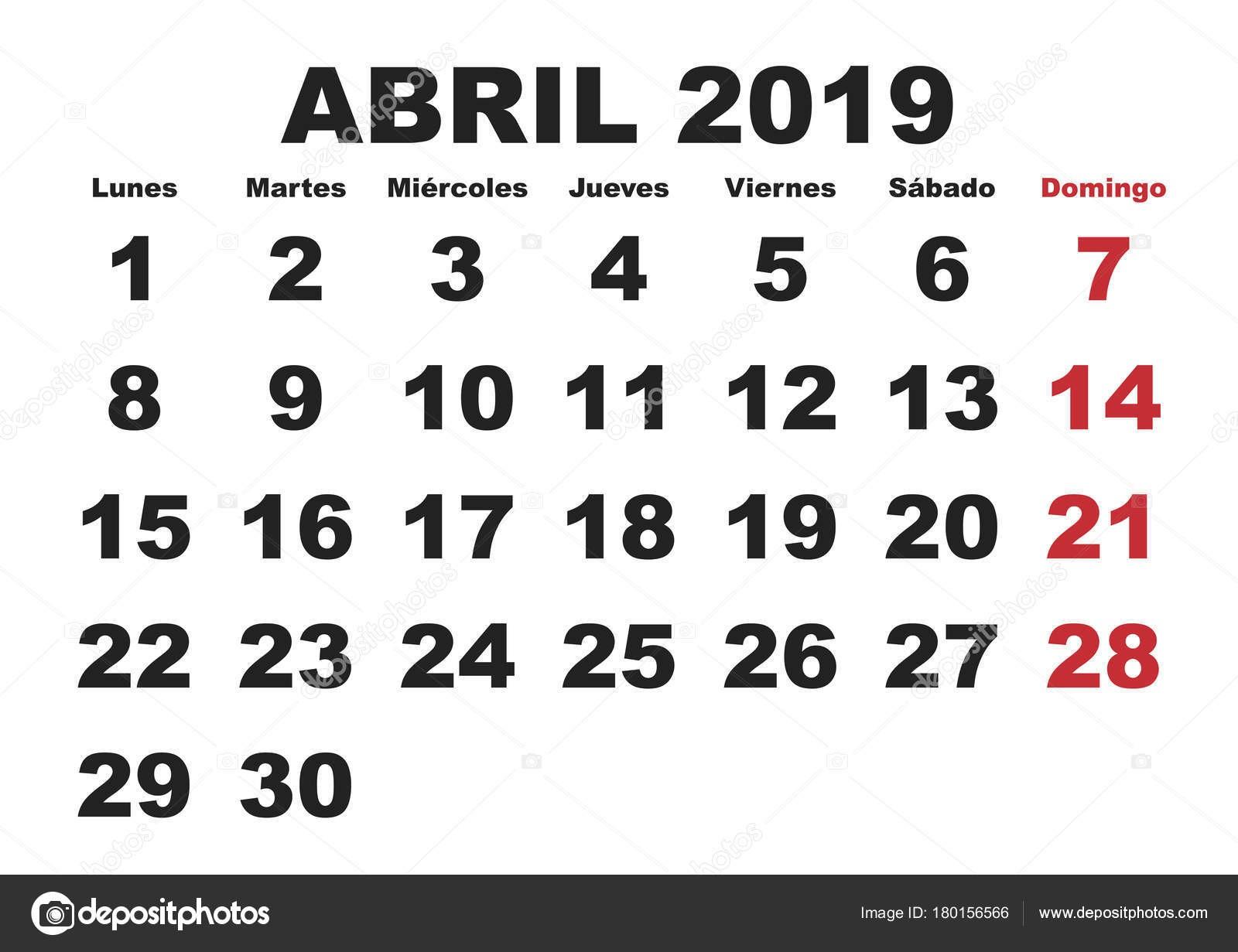 depositphotos stock illustration abril 2019 wall calendar spanish