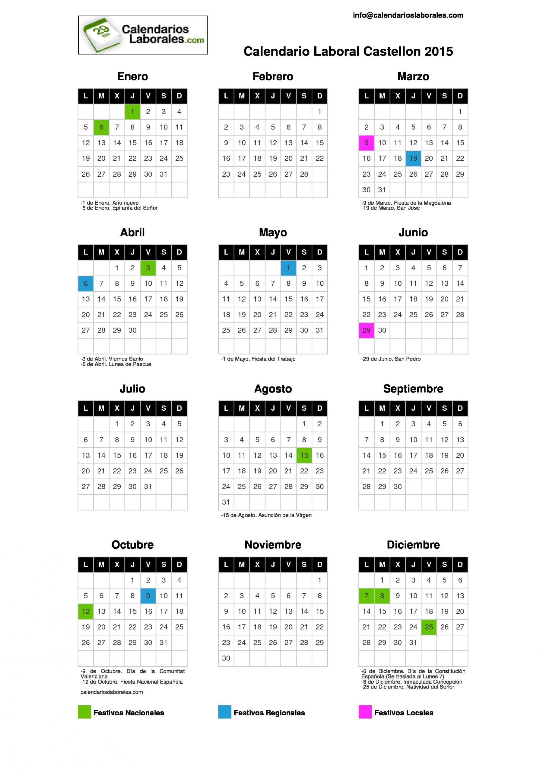 calendario laboral castellon 2015