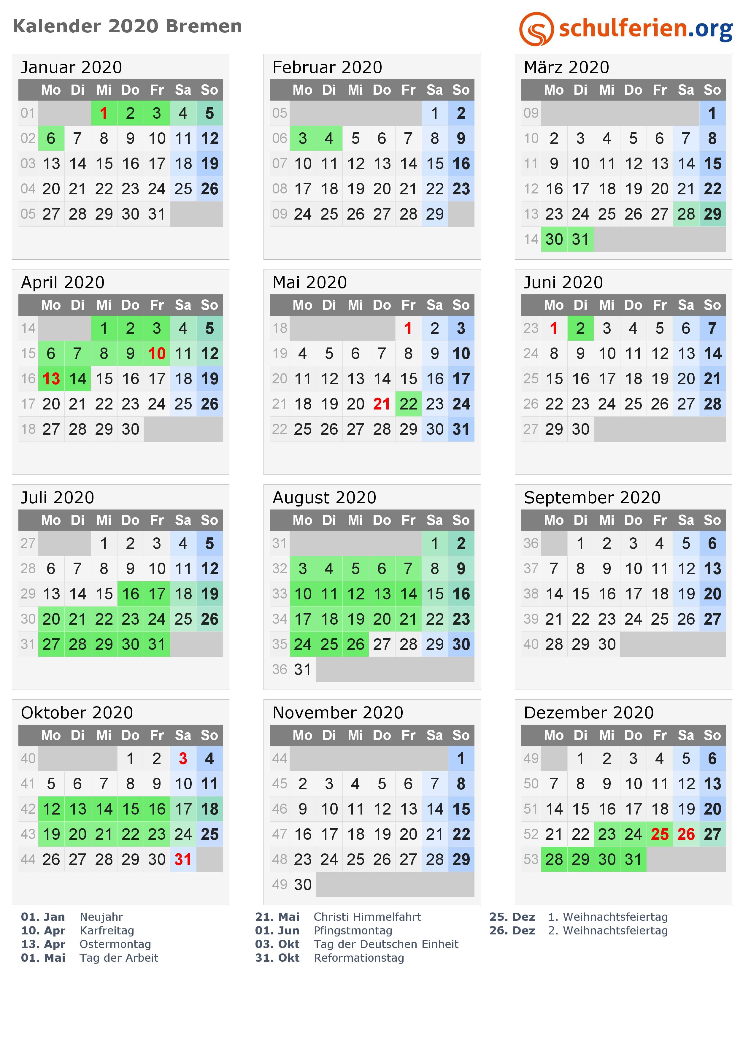 kalender 2020 bremen hoch