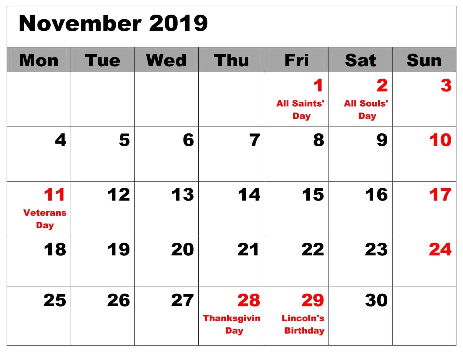 Free November 2019 Calendar With Holidays