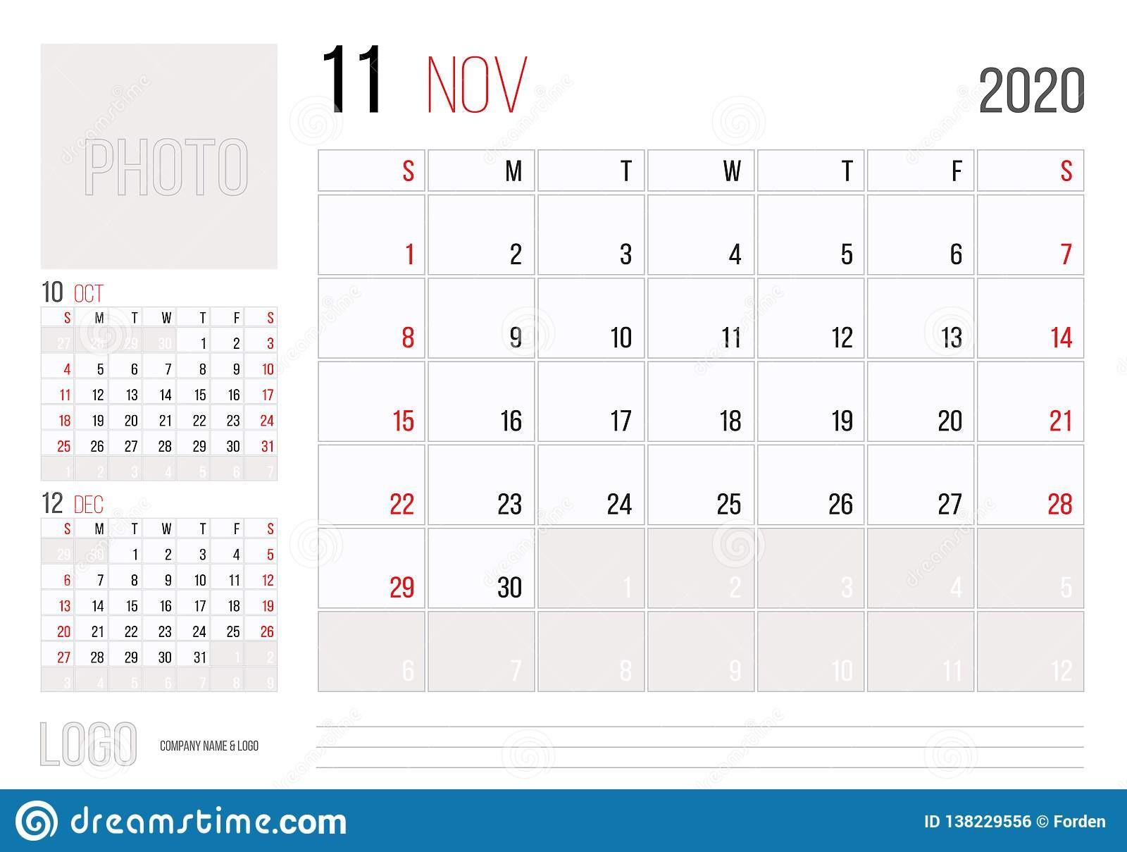 diseño corporativo de la plantilla del planificador calendario noviembre ienzo semana el domingo