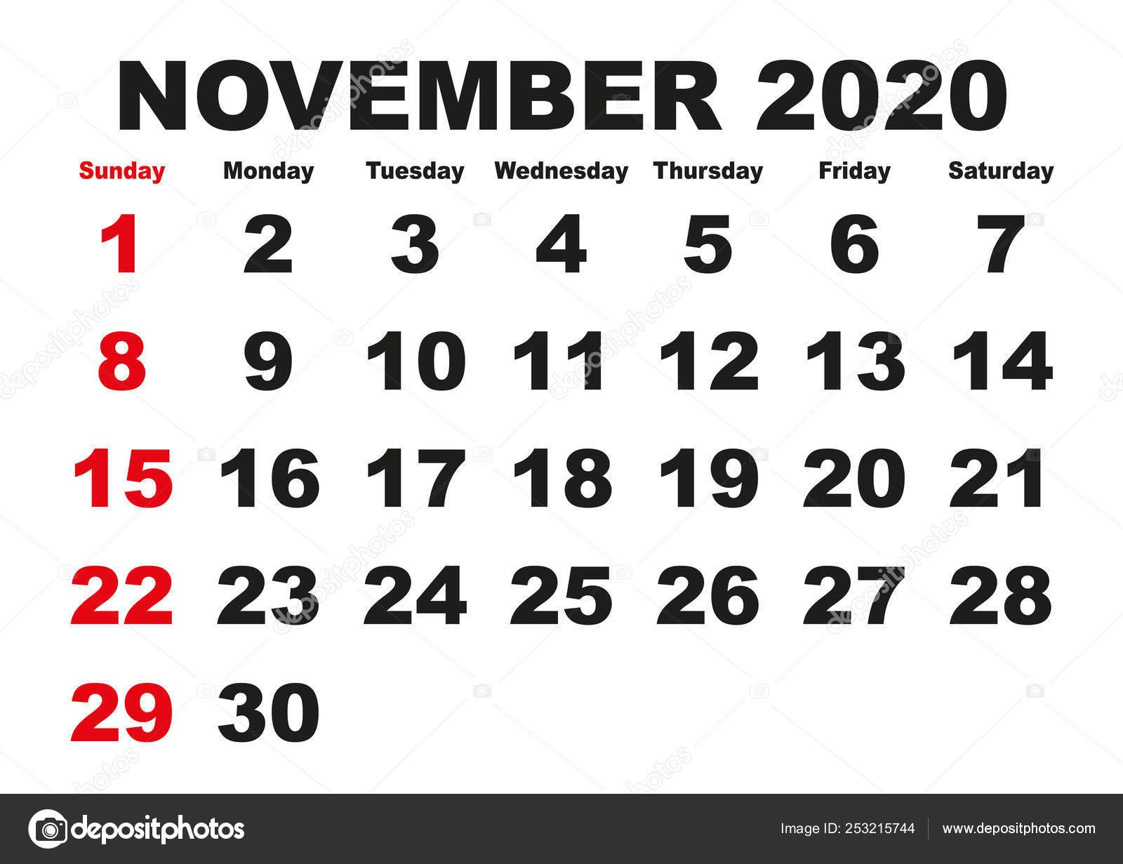 depositphotos stock illustration november month calendar 2020 english