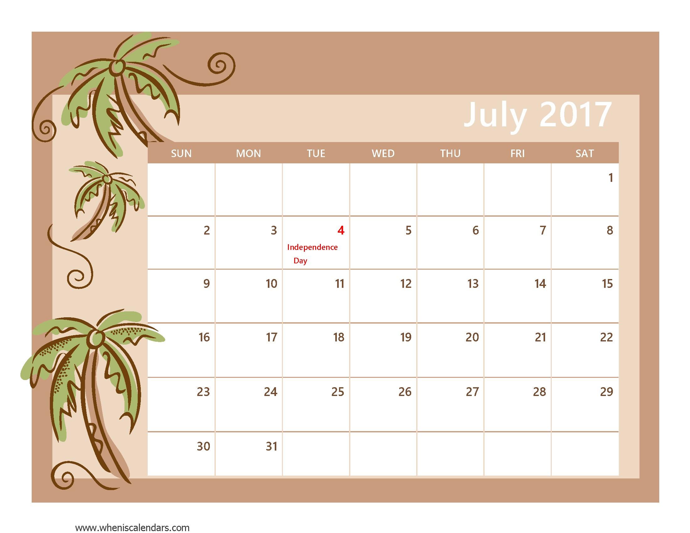trees blank September 2017 calendar