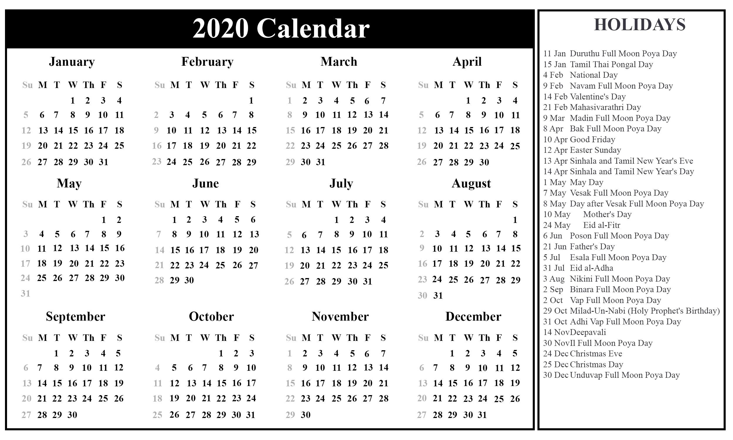 free sri lanka calendar 2020 in pdf excel word