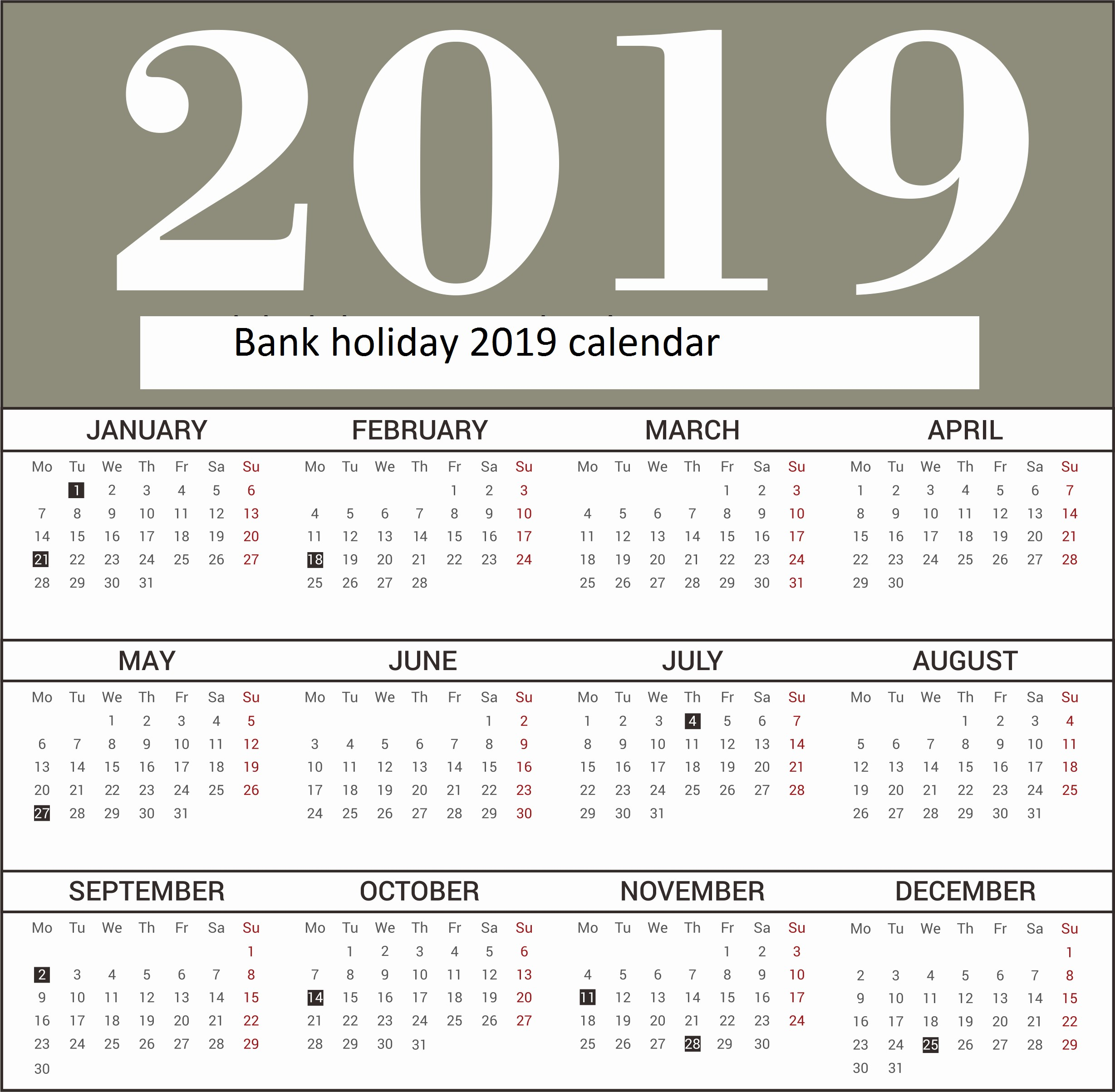 uk bank holiday019 uk bank holiday019 free yearly bank holidays calendar 2019 in uk template