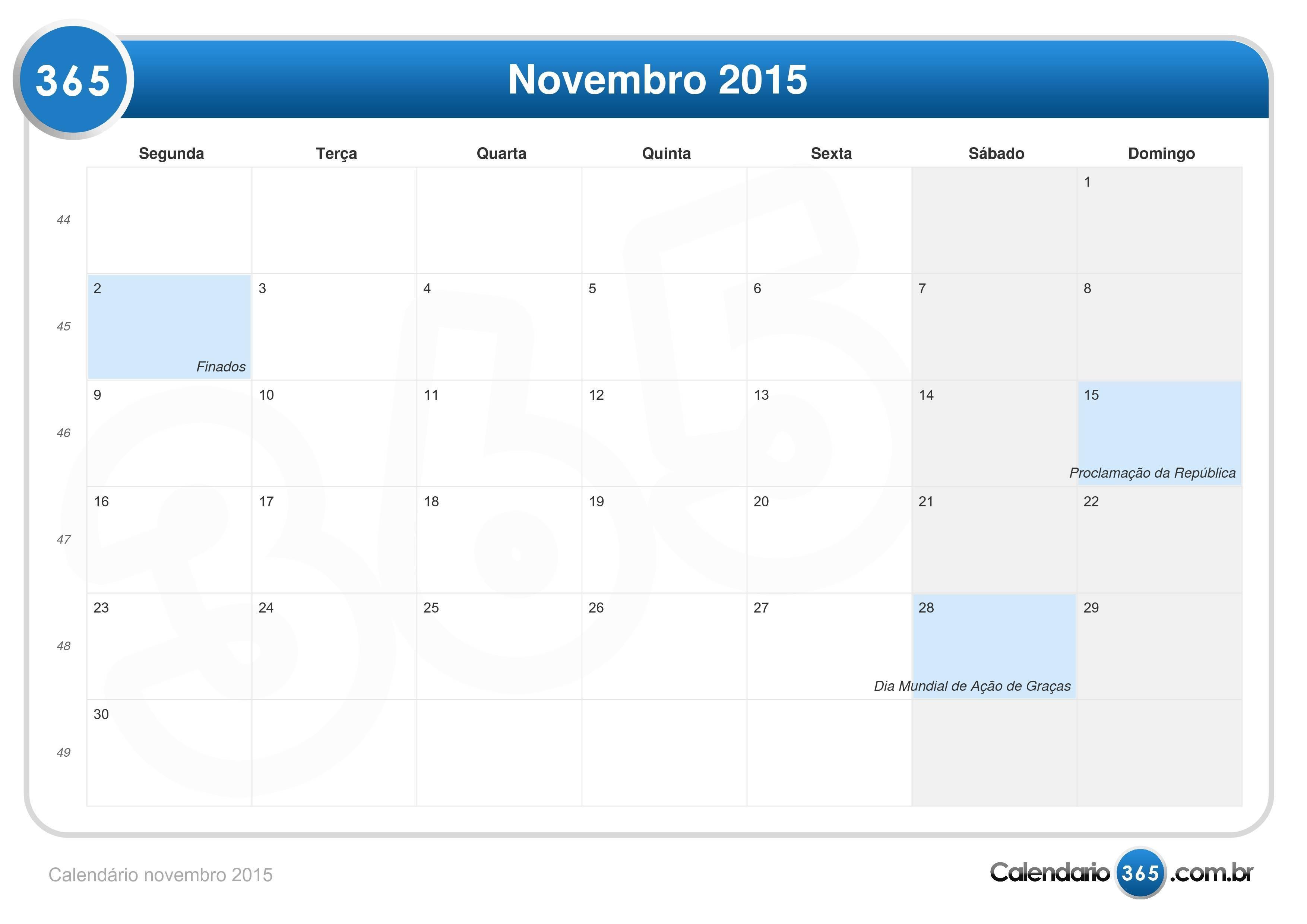 calendário novembro 2015