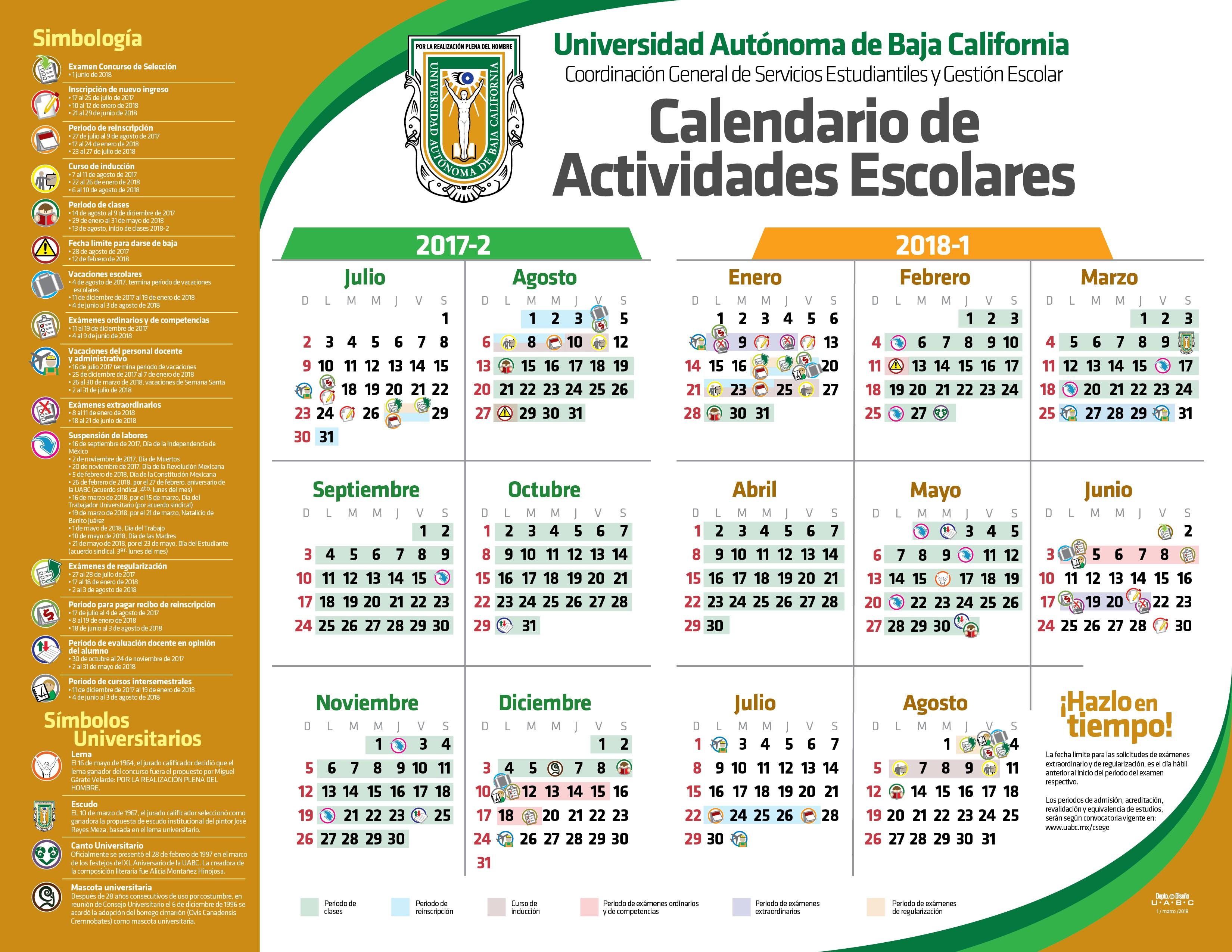 Calendario de Actividades Escolares 2017 2 2018 1 Actulizado