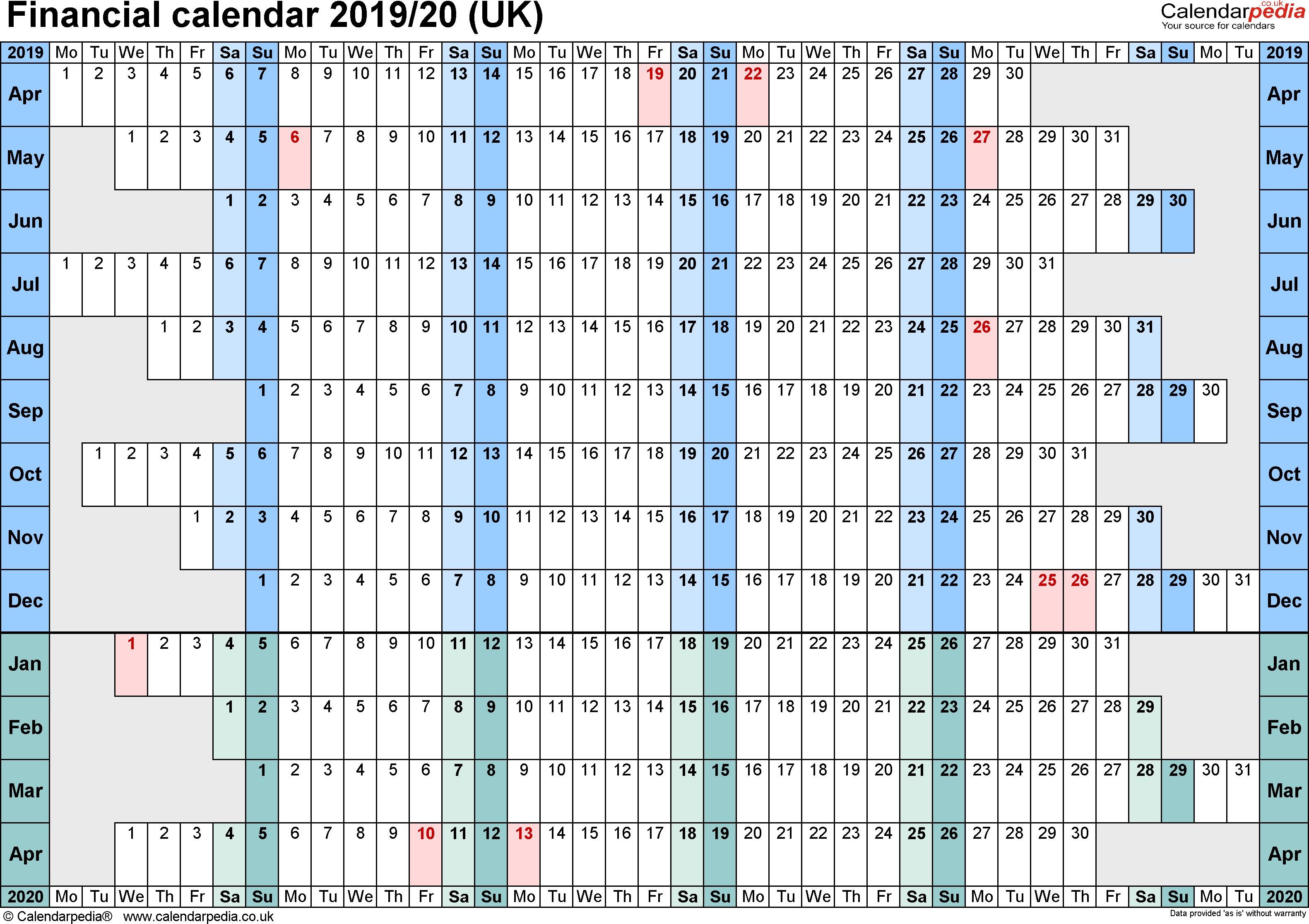 financial calendar 2019