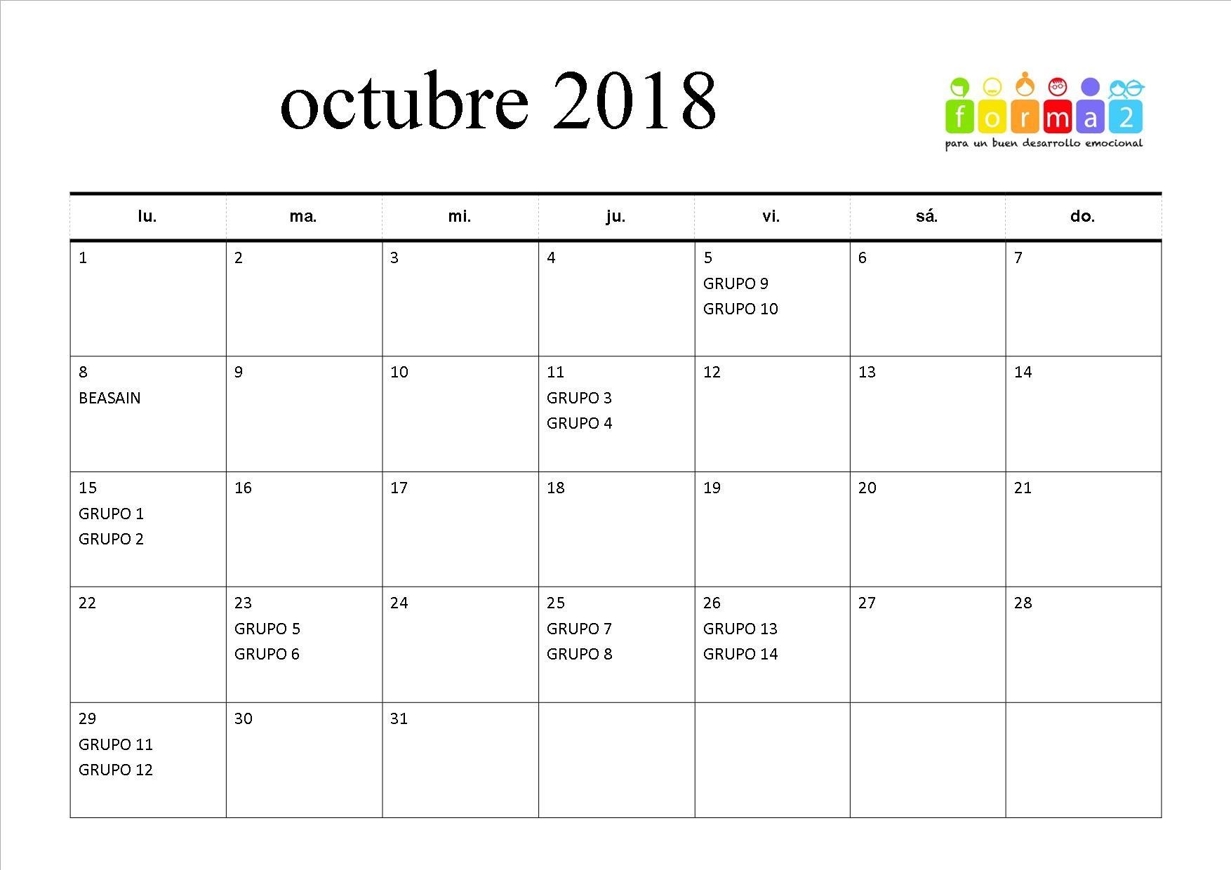 CALENDARIO FECHAS 2018 2019 OCTUBRE