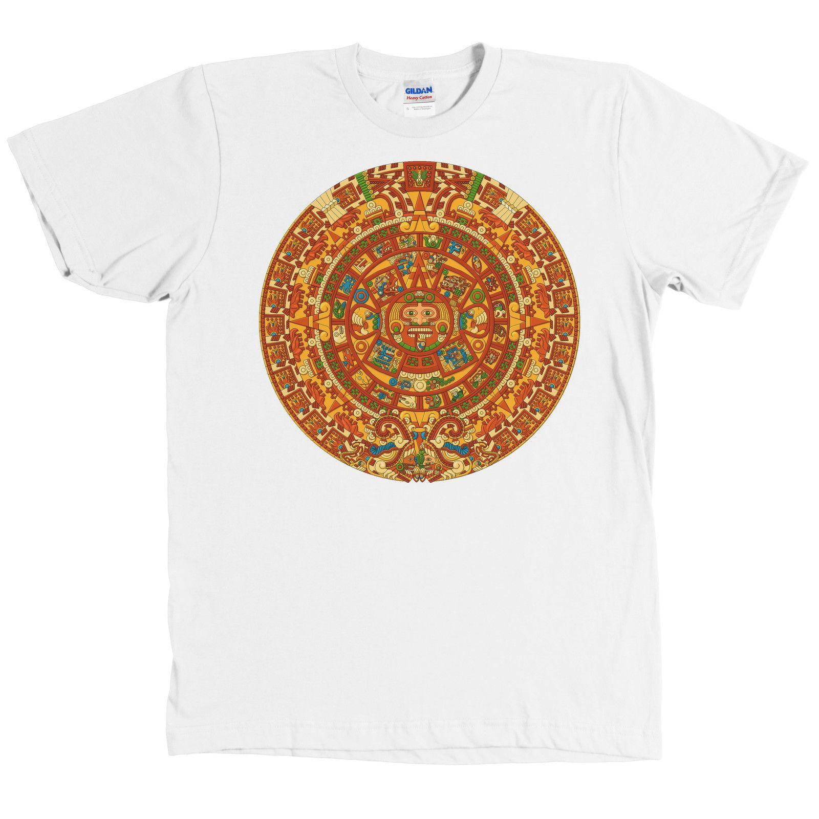 pre Camiseta Del Calendario Maya Camiseta Azteca NUEVA CON ETIQUETAS Camiseta De La Marca De Moda Para Hombre 2018 Camiseta De Algod³n Con