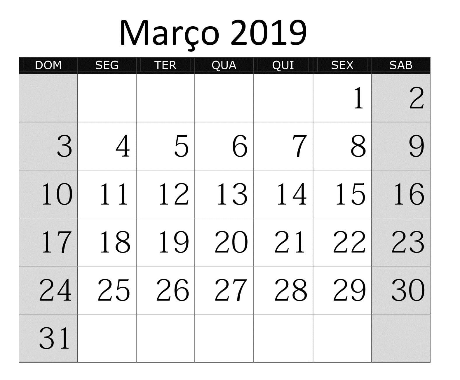 Calendário 2019 Imprimir Gratuito Março