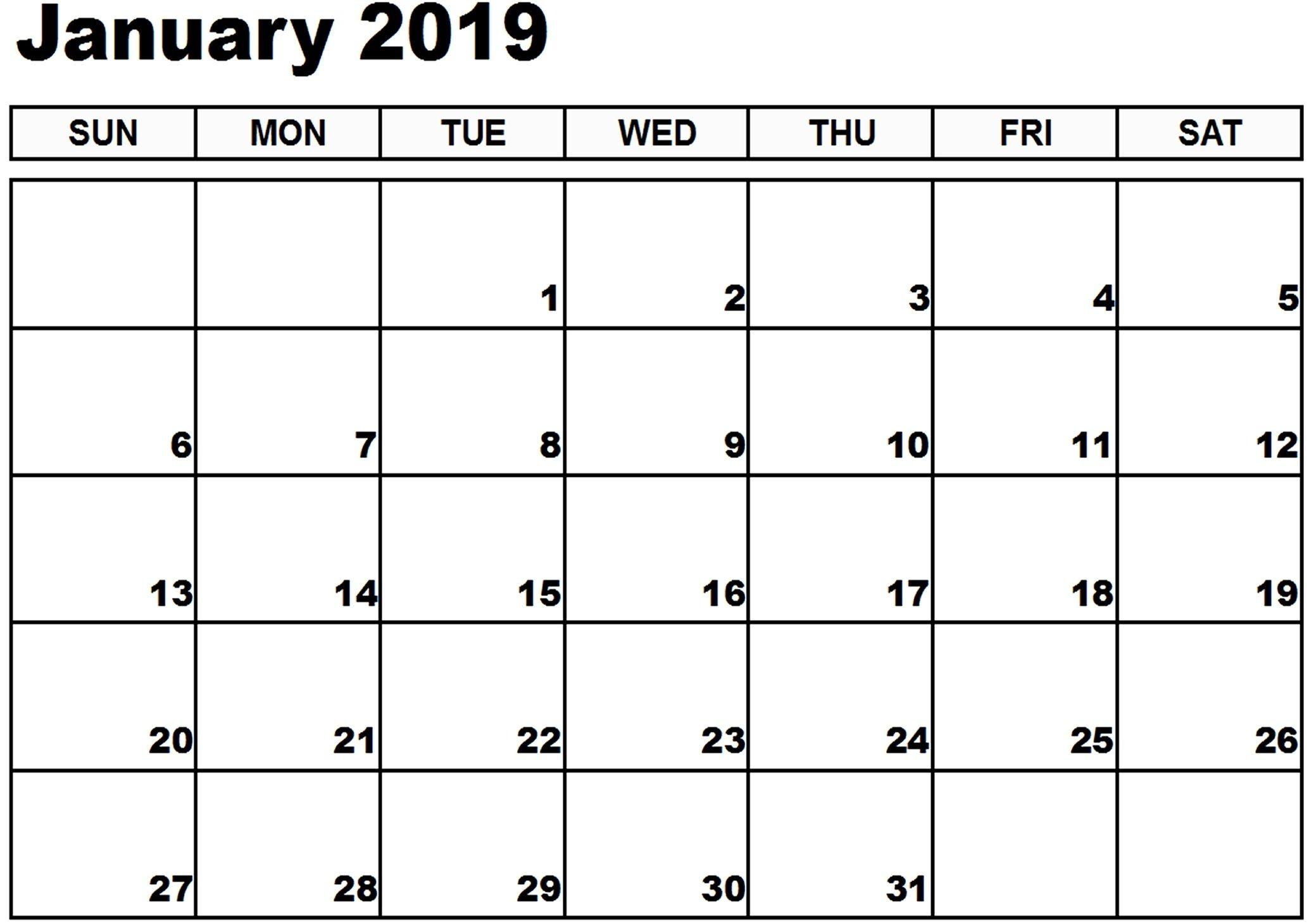 Ebook Descargar January 2017 Blank Printable Calendar