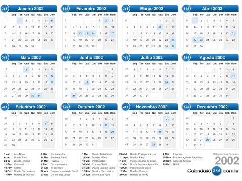 Calendario De Feriados Ano 2020 Más Arriba-a-fecha Calendário 2002