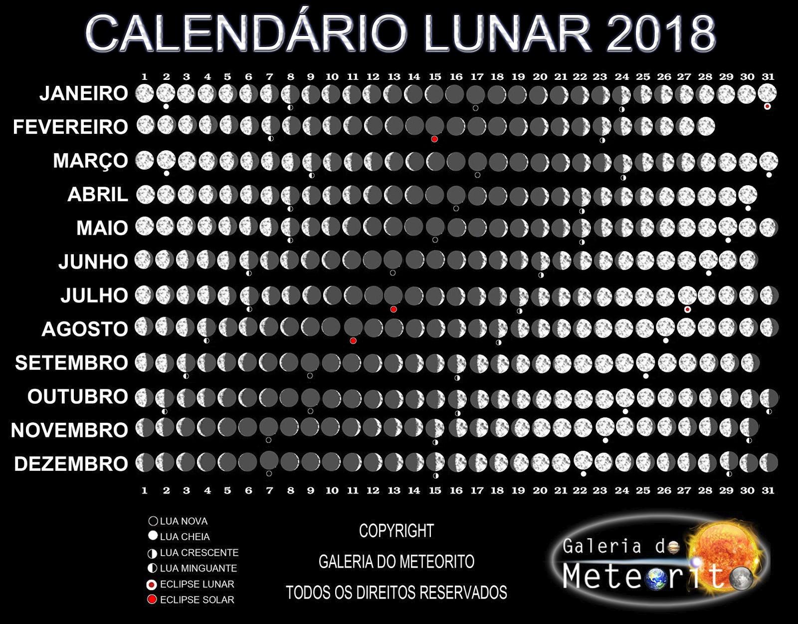 Calendário Lunar 2018 fases da lua 2018