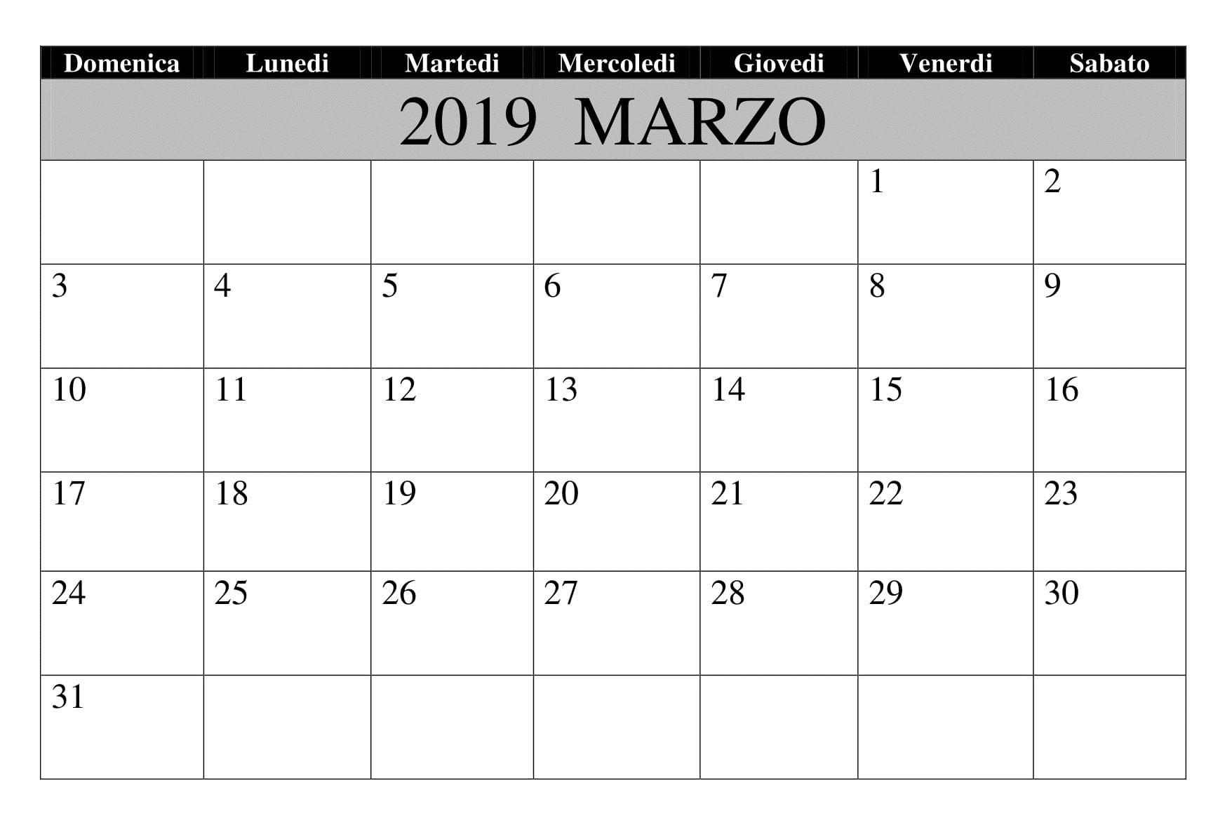 Marzo 2019 Da Stampare Excel Calendario
