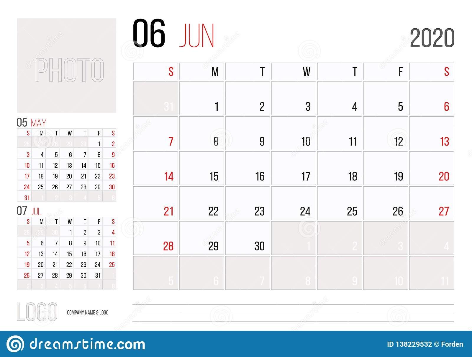 diseño corporativo de la plantilla del planificador calendario junio ienzo semana el domingo